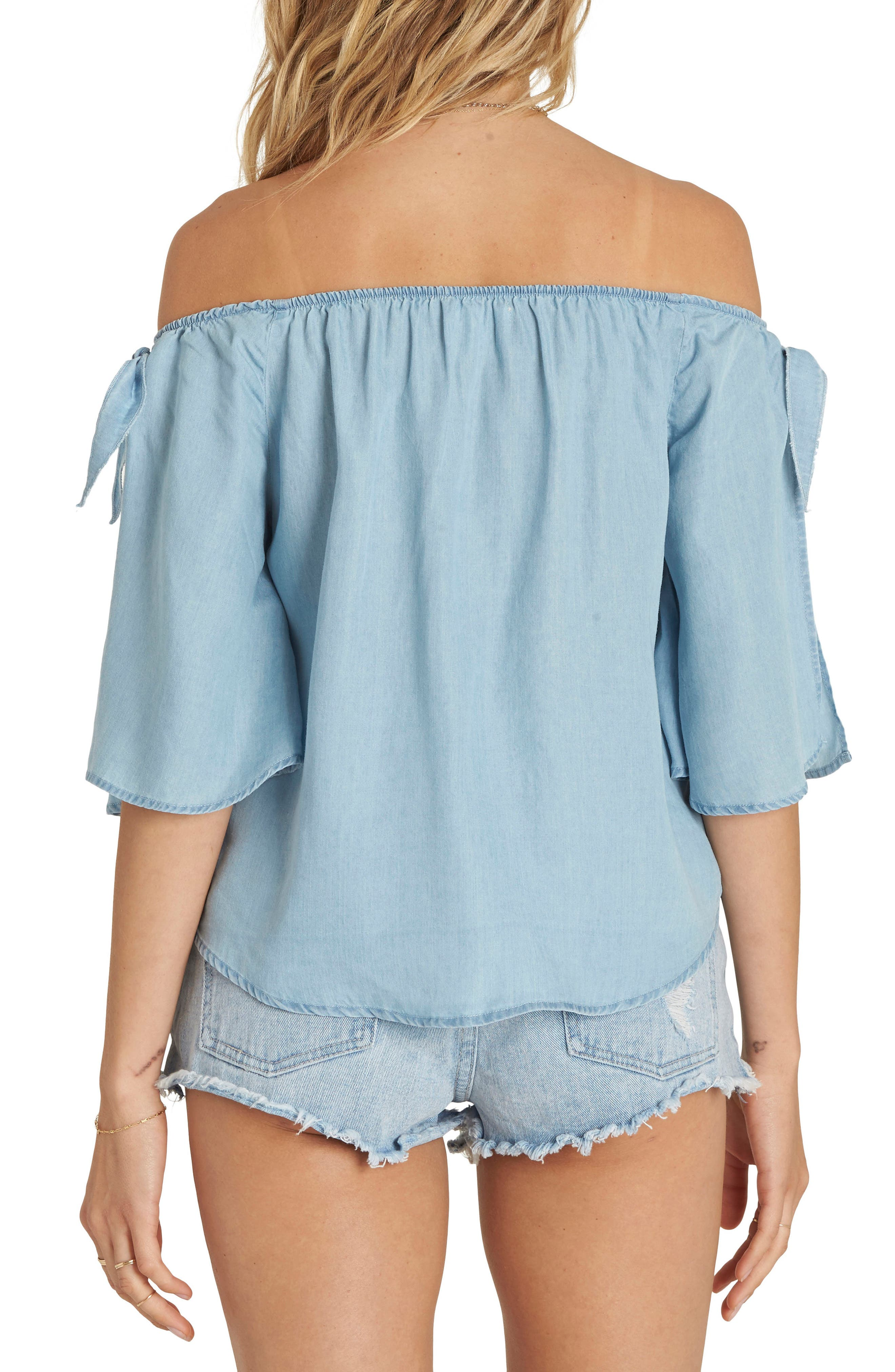 Blues Baby Chambray Off the Shoulder Top,                             Alternate thumbnail 2, color,                             415