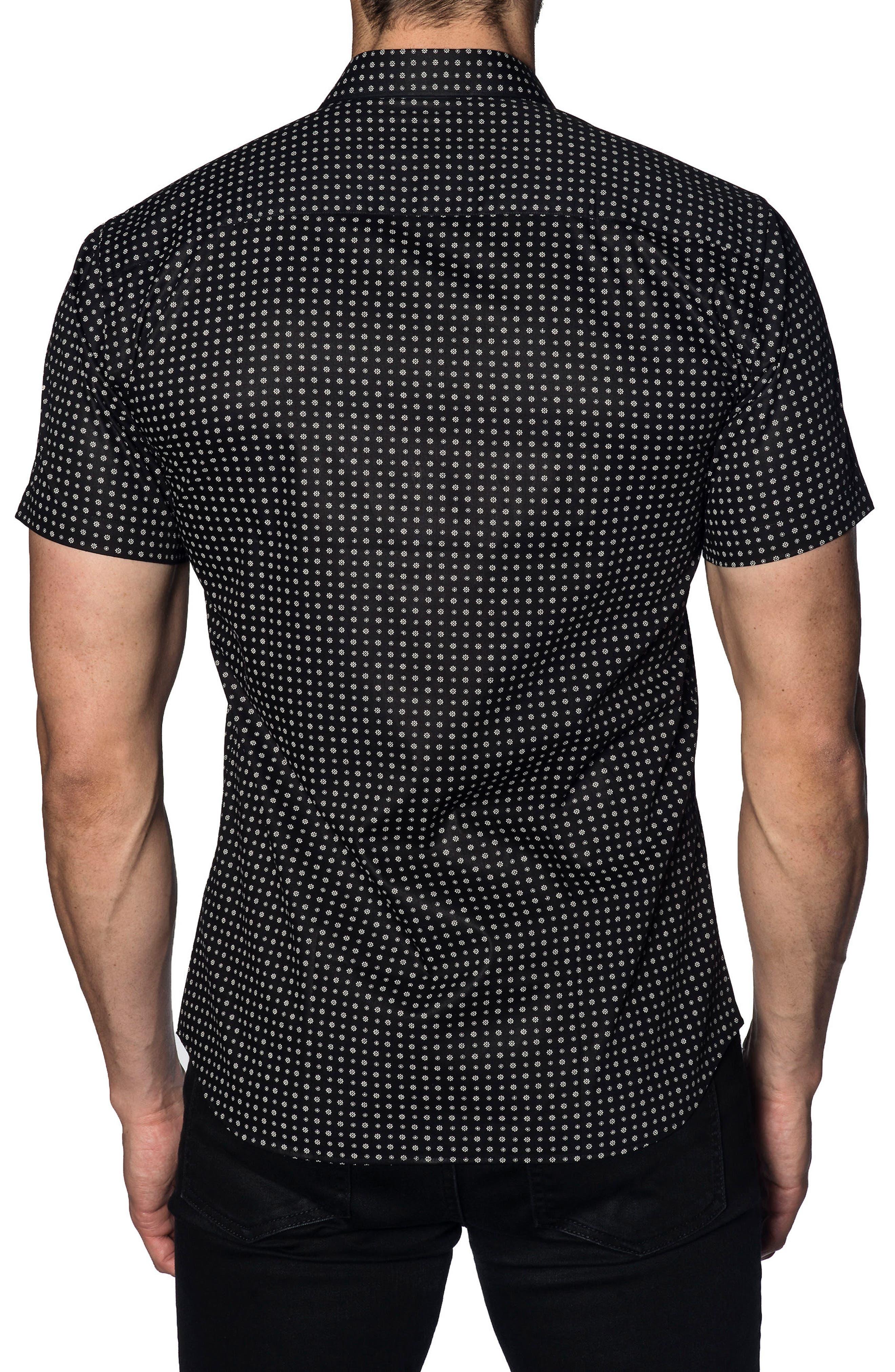 Trim Fit Print Sport Shirt,                             Alternate thumbnail 2, color,                             BLACK