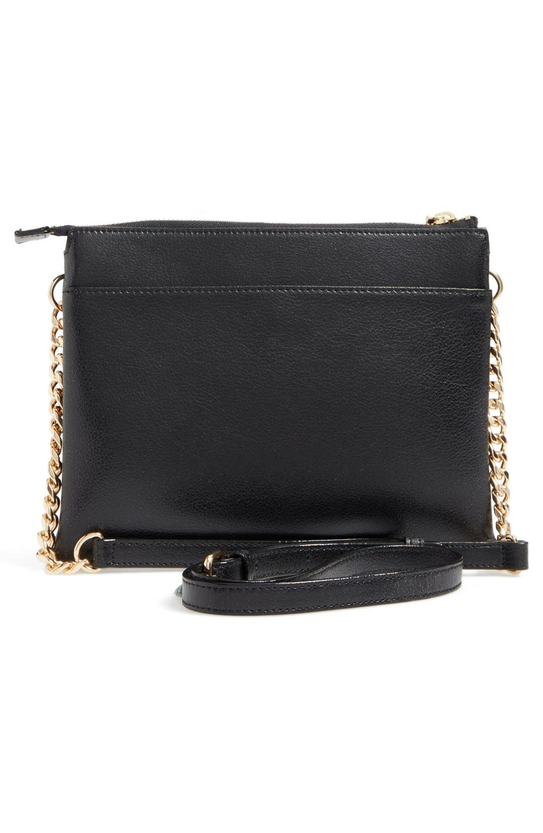 Leather Crossbody Bag,                             Alternate thumbnail 3, color,                             001
