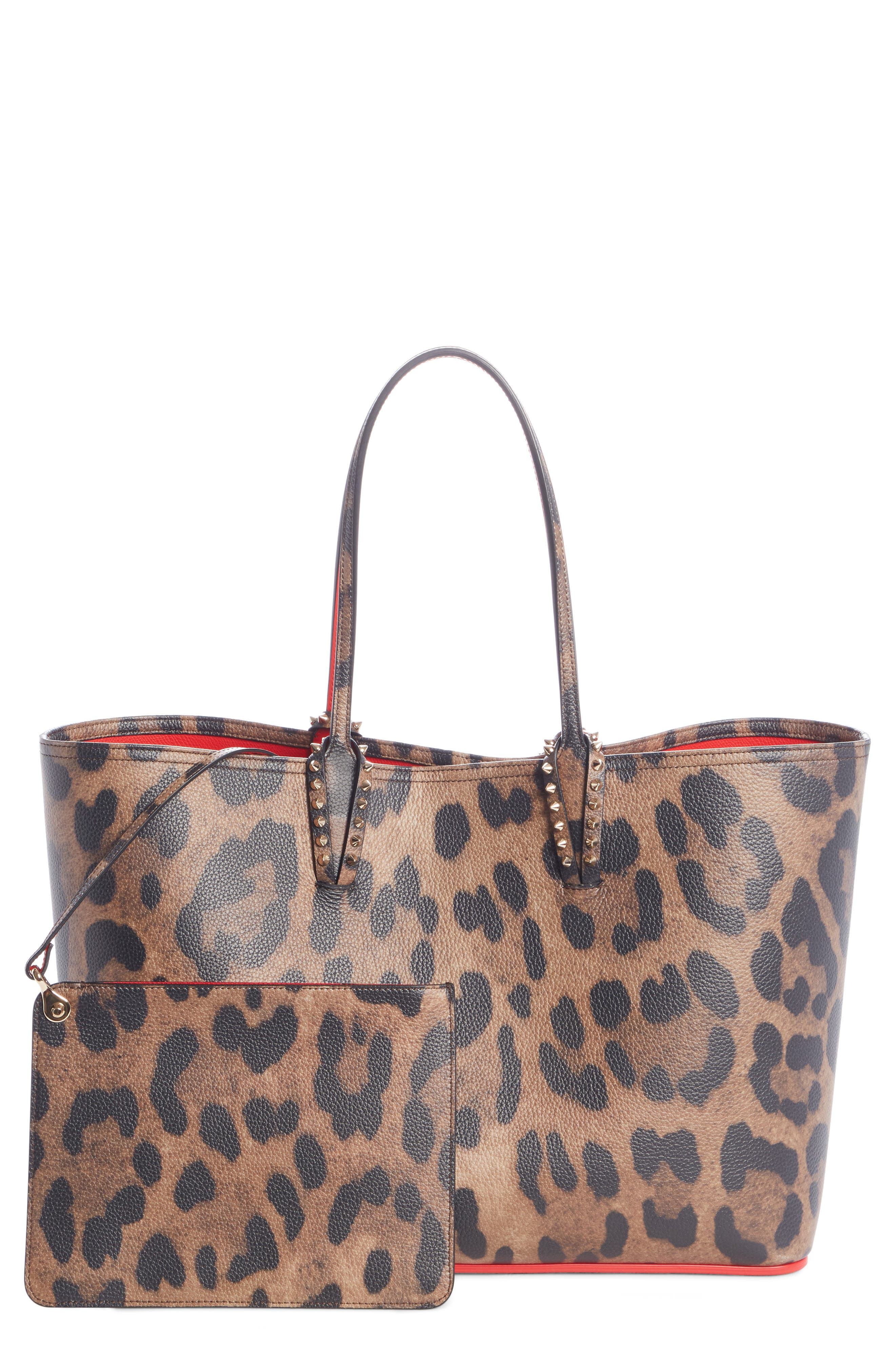 CHRISTIAN LOUBOUTIN,                             Large Cabata Leather Tote,                             Main thumbnail 1, color,                             BROWN