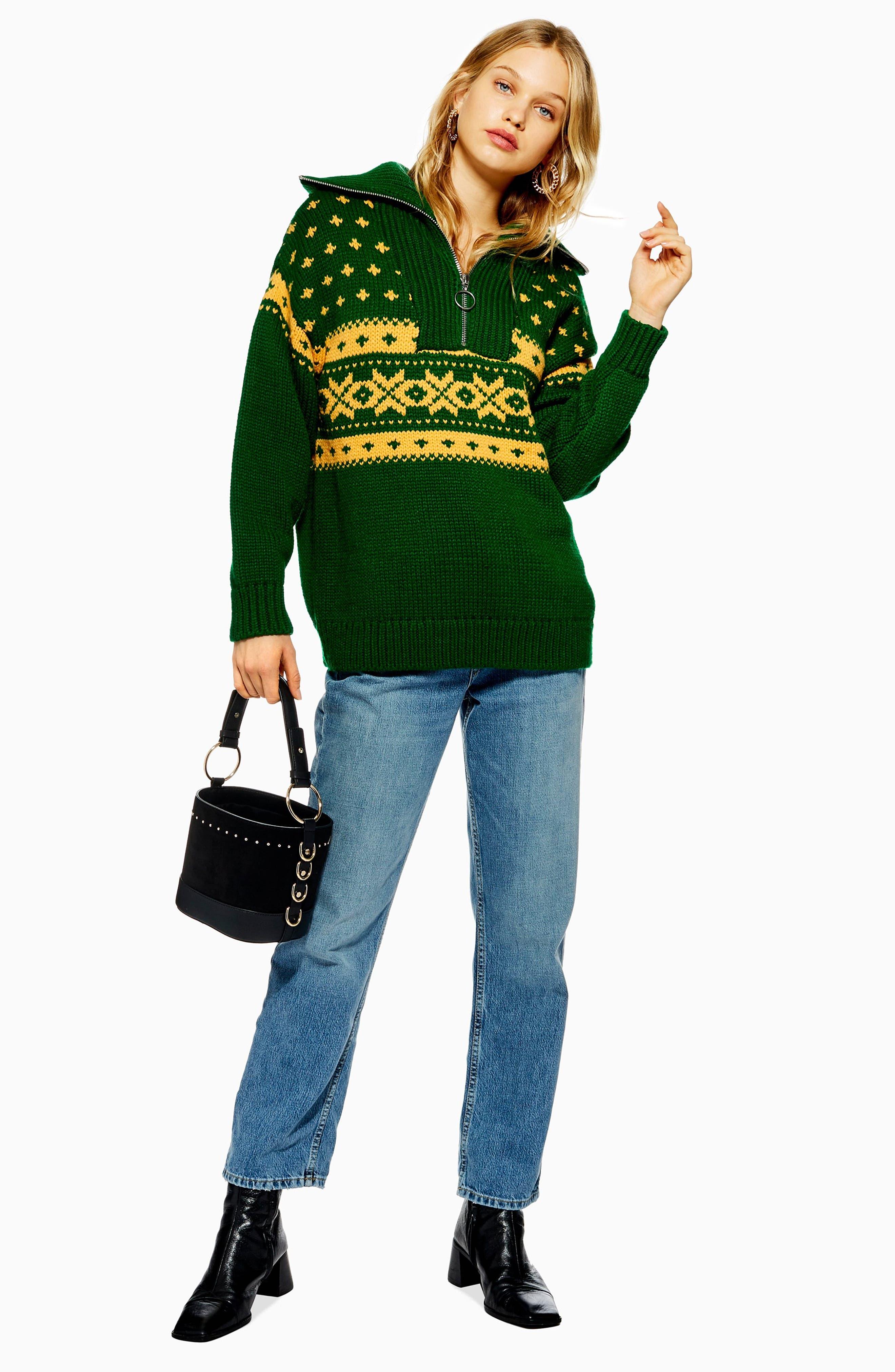 Fair Isle Zip Collar Sweater,                             Alternate thumbnail 5, color,                             GREEN MULTI