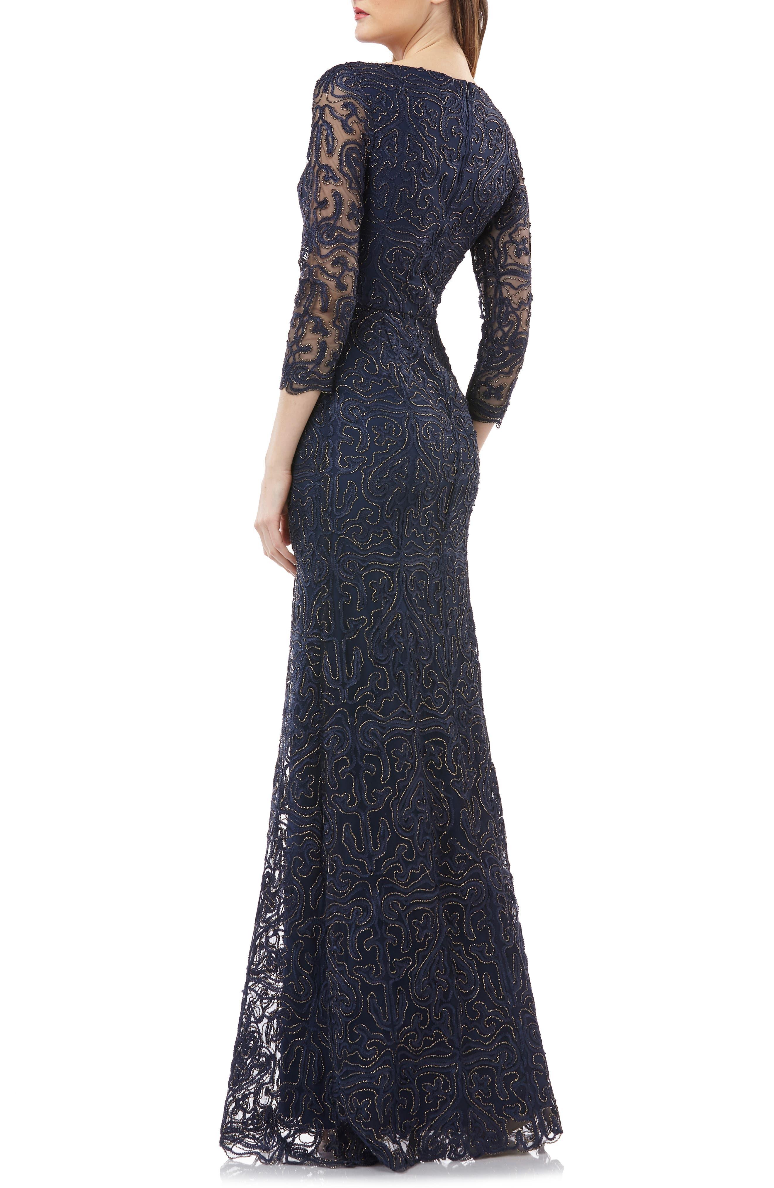 Metallic Soutache Evening Dress,                             Alternate thumbnail 2, color,                             NAVY/ GOLD