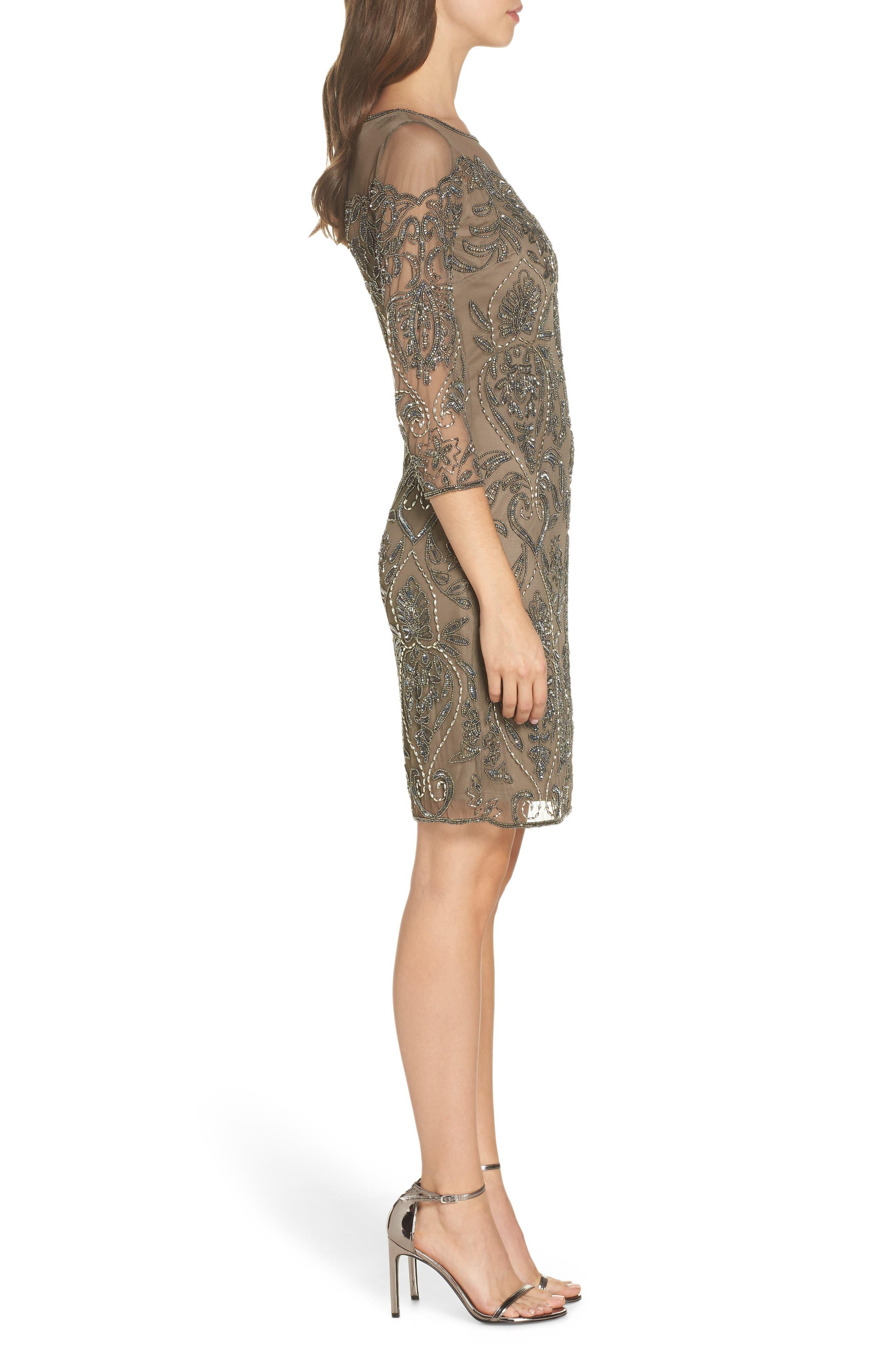Beaded Illusion Mesh Sheath Dress,                             Alternate thumbnail 3, color,                             MOCHA