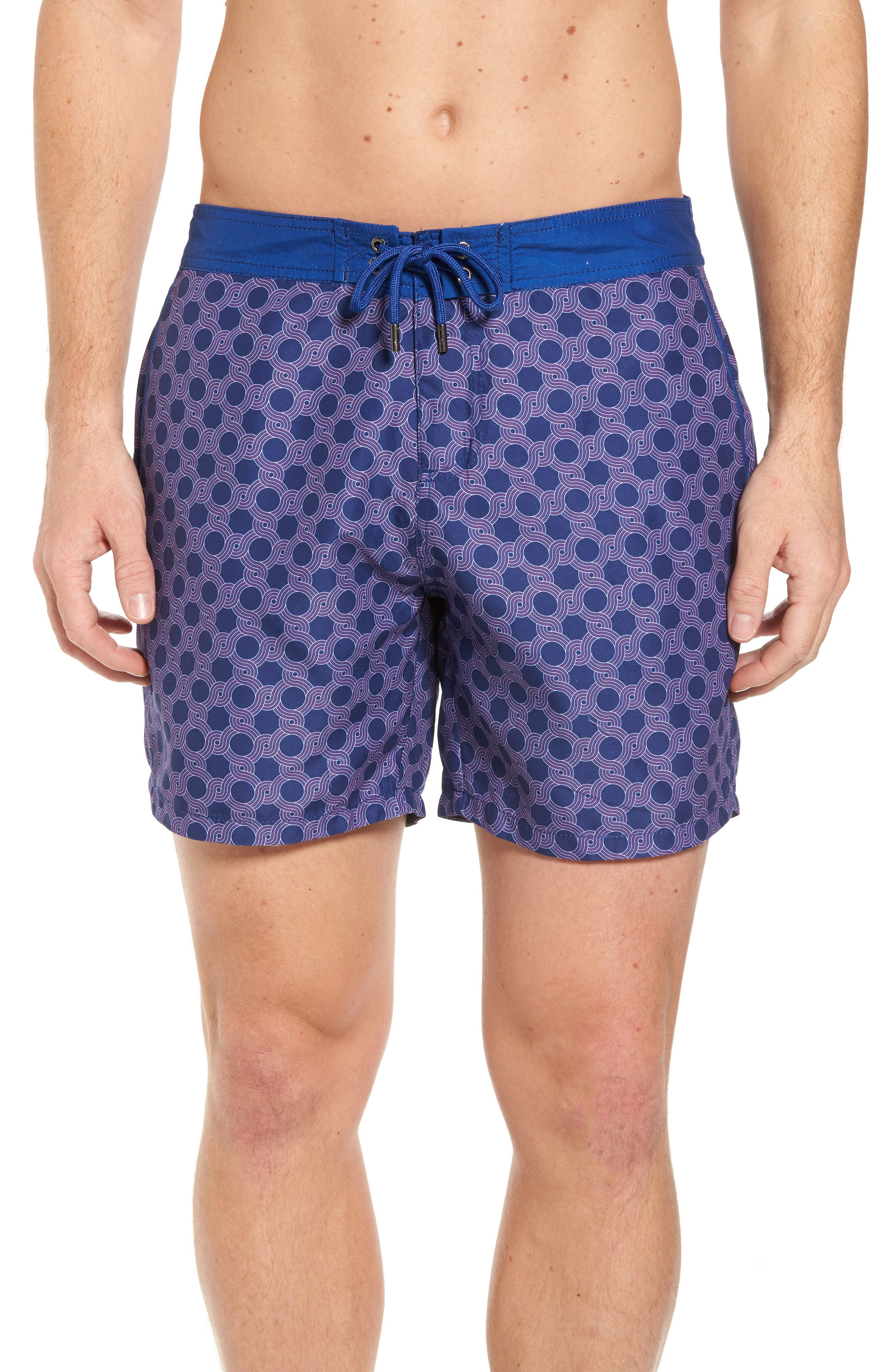 Mr. Swim Figure Eight Print Swim Trunks,                         Main,                         color, NAVY