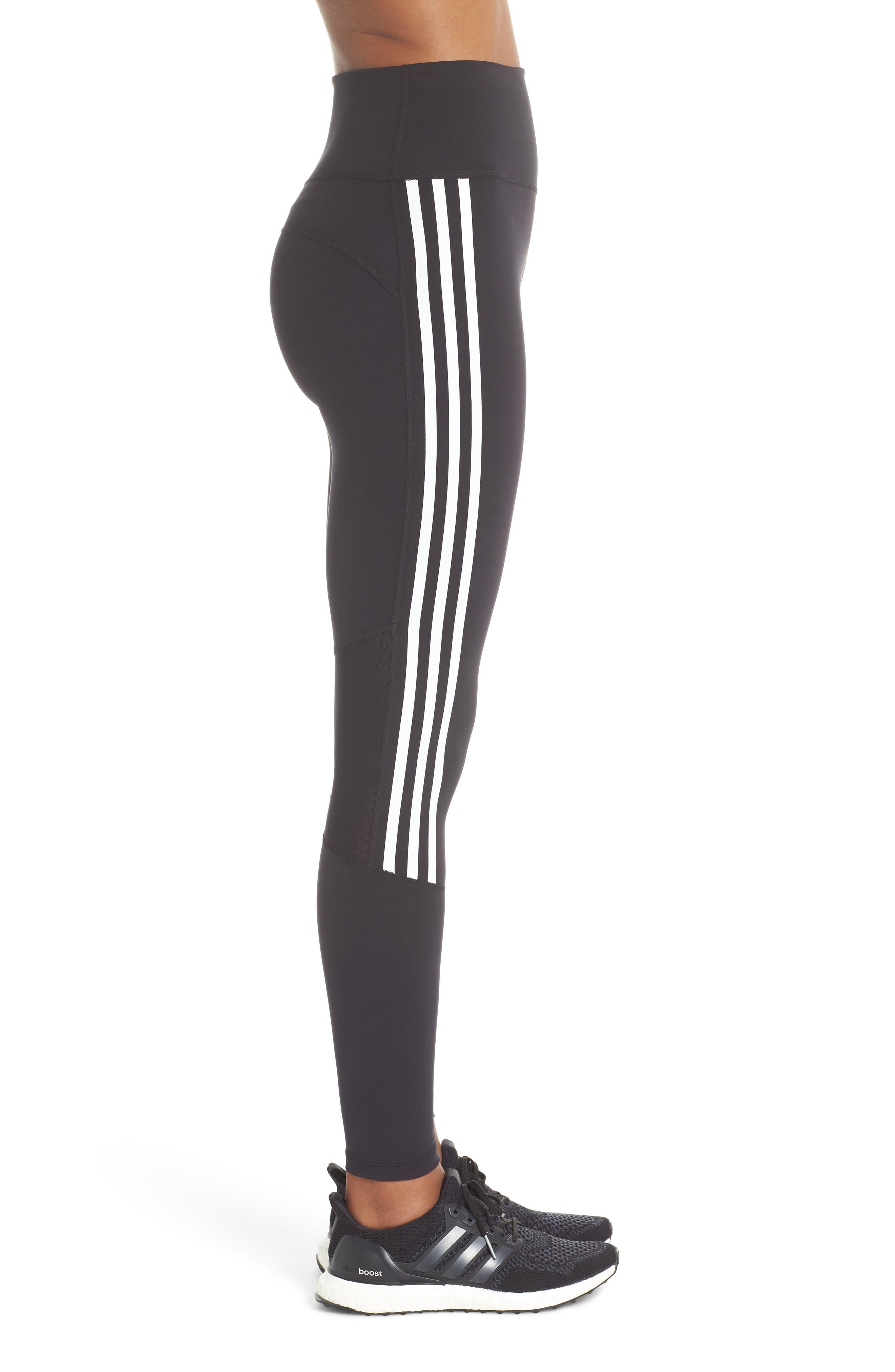 Believe This 3-Stripes High Waist Ankle Leggings,                             Alternate thumbnail 3, color,                             BLACK/ WHITE