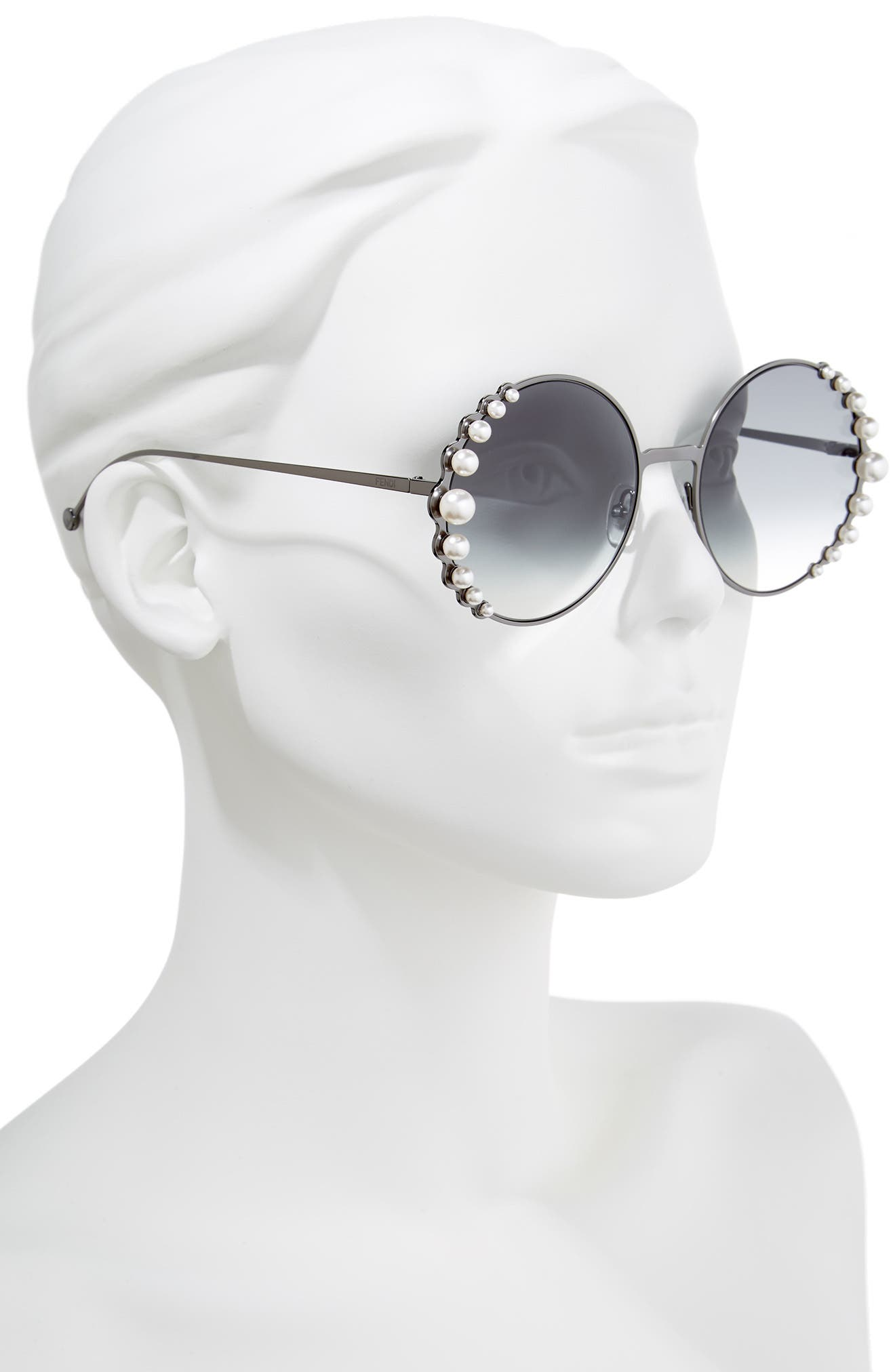 58mm Embellished Round Sunglasses,                             Alternate thumbnail 2, color,                             DARK RUTHENIUM