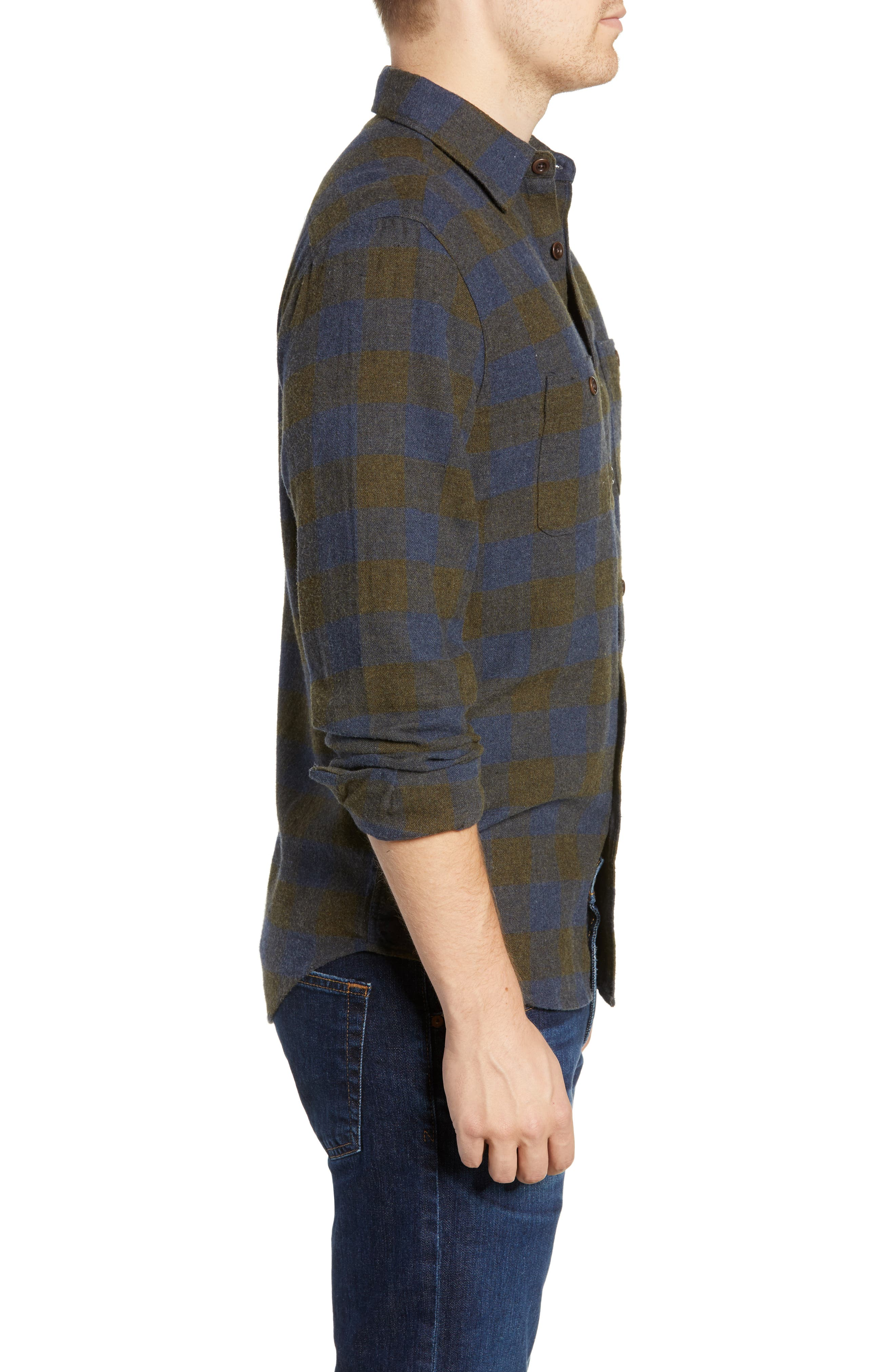 Seasons Check Flannel Shirt,                             Alternate thumbnail 4, color,                             NAVY OLIVE BUFFALO