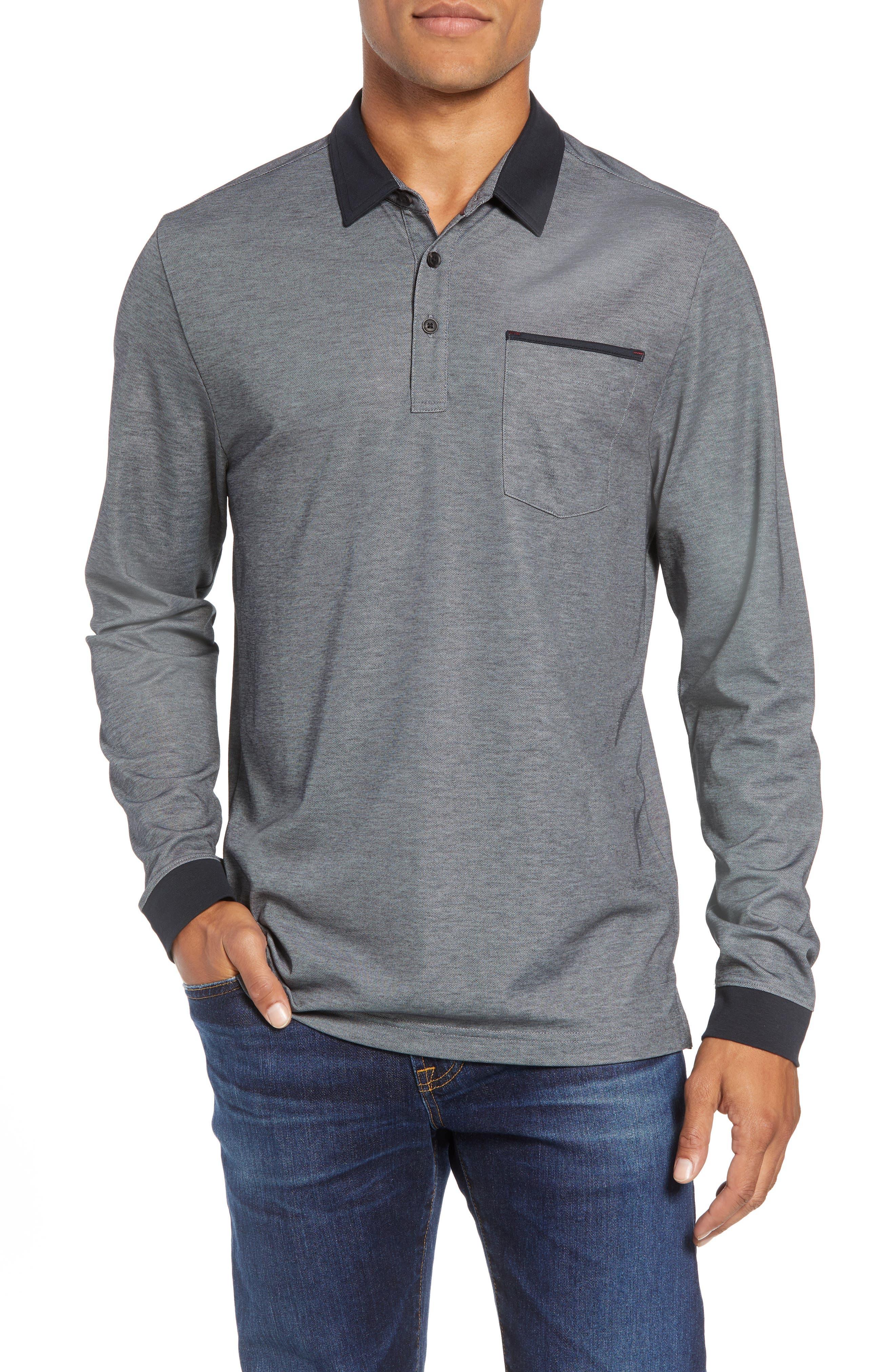 Kay Regular Fit Long Sleeve Polo Shirt,                             Main thumbnail 1, color,                             HEATHER CASTLEROCK