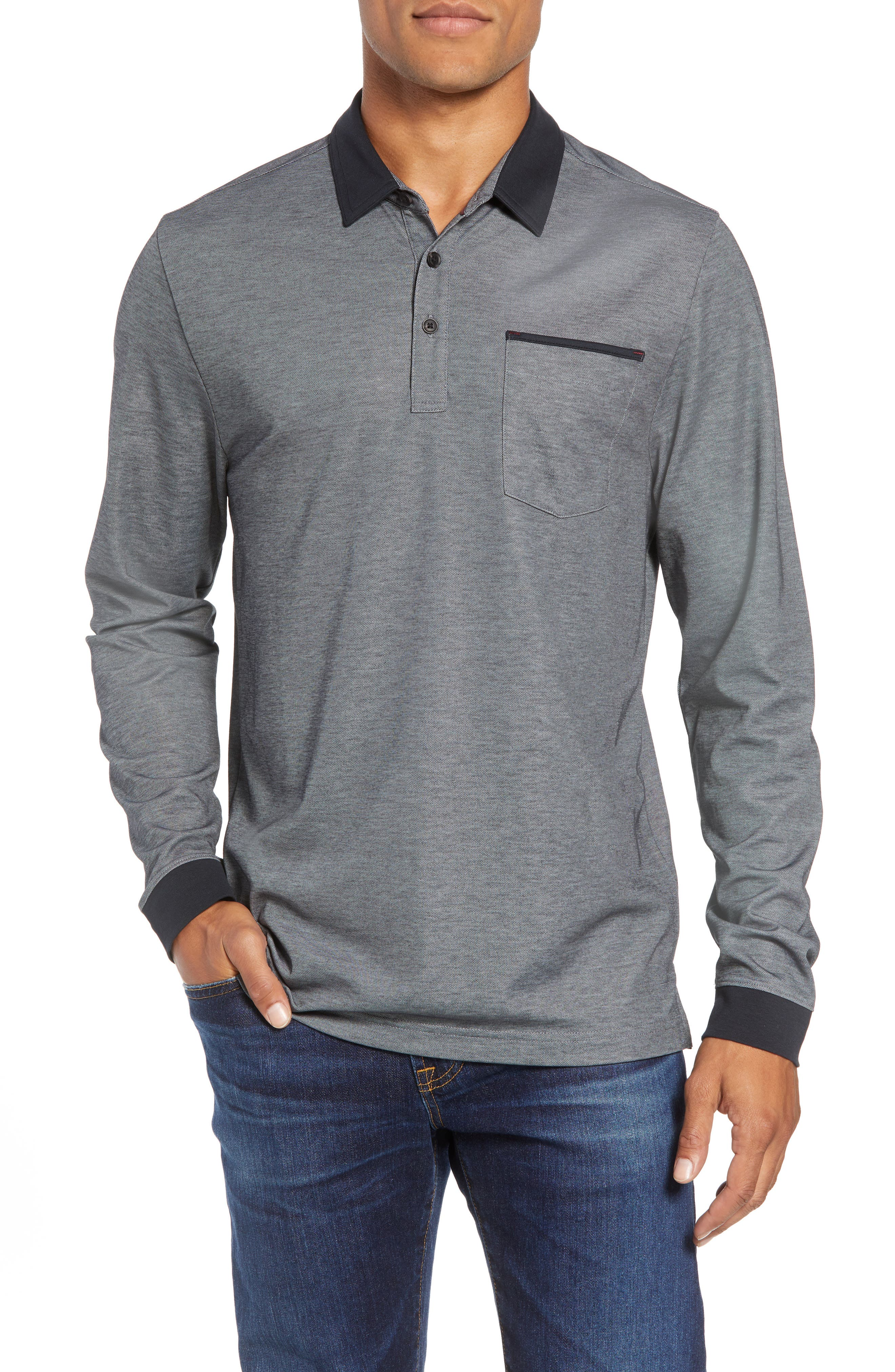 Kay Regular Fit Long Sleeve Polo Shirt,                         Main,                         color, HEATHER CASTLEROCK
