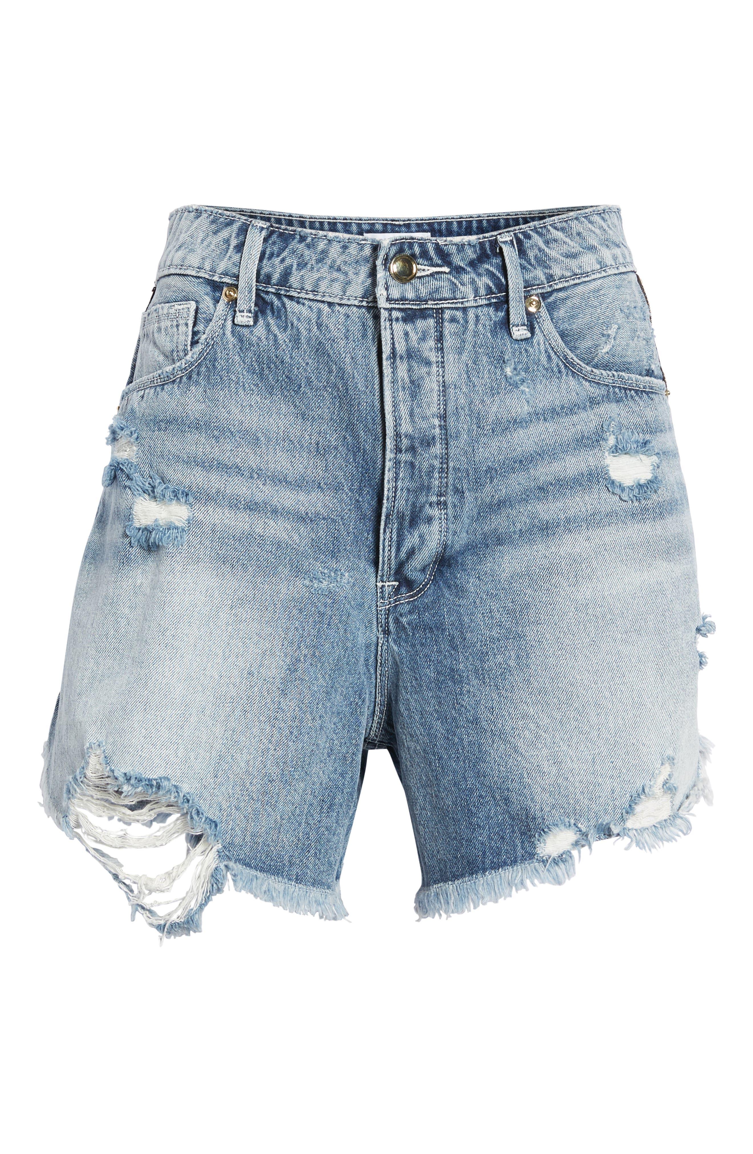 The Bombshell High Waist Distressed Denim Shorts,                             Alternate thumbnail 6, color,                             401
