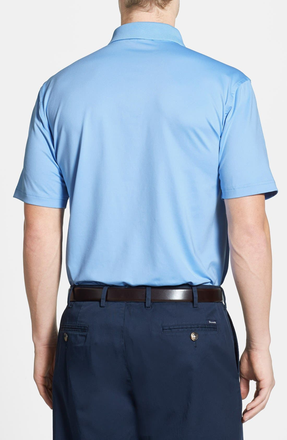 Moisture Wicking Stretch Jersey Polo,                             Alternate thumbnail 2, color,                             COTTAGE BLUE