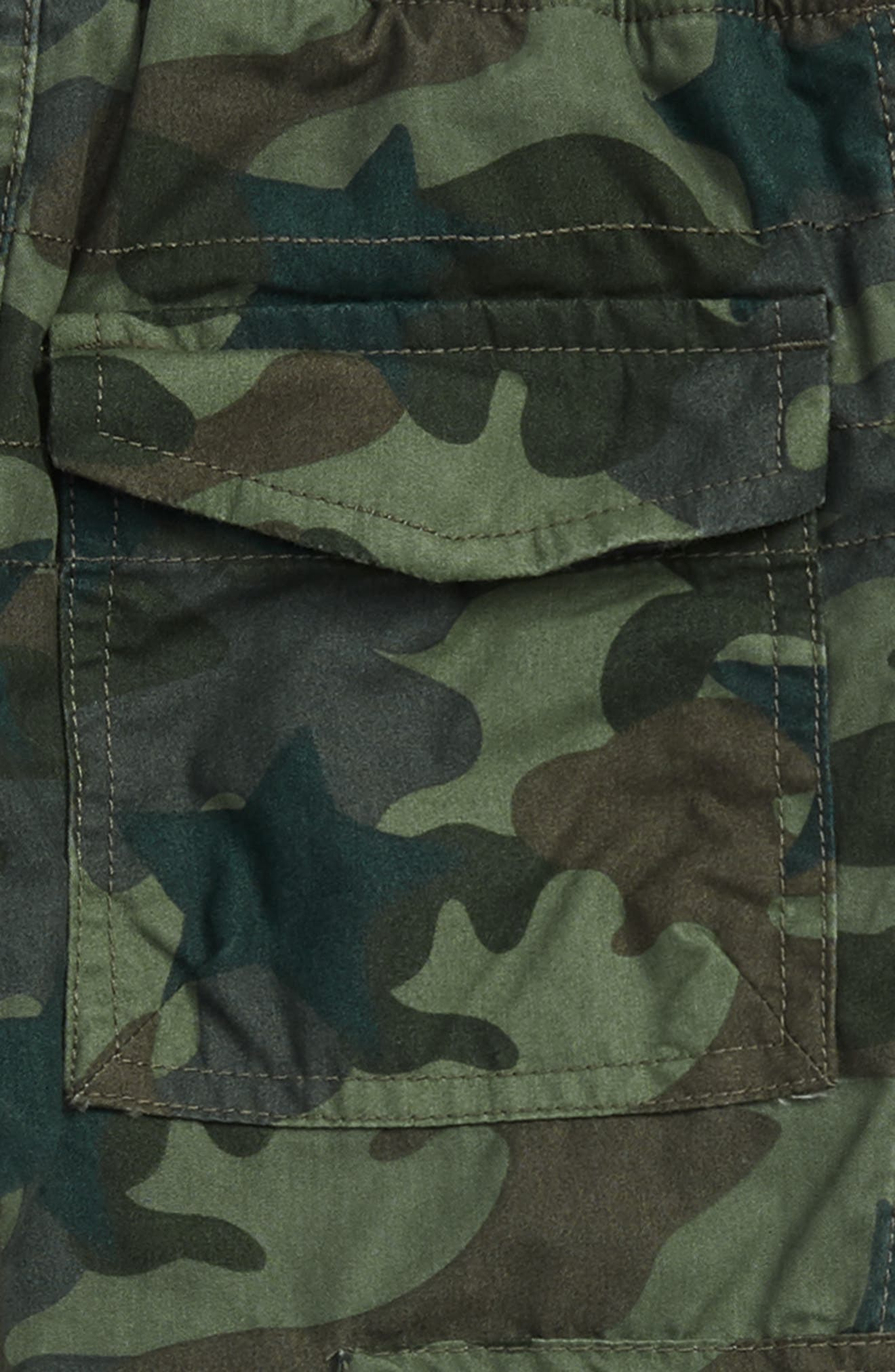 Cargo Pull On Pants,                             Alternate thumbnail 3, color,                             KHAKI GREEN CAMOFLAGE STAR