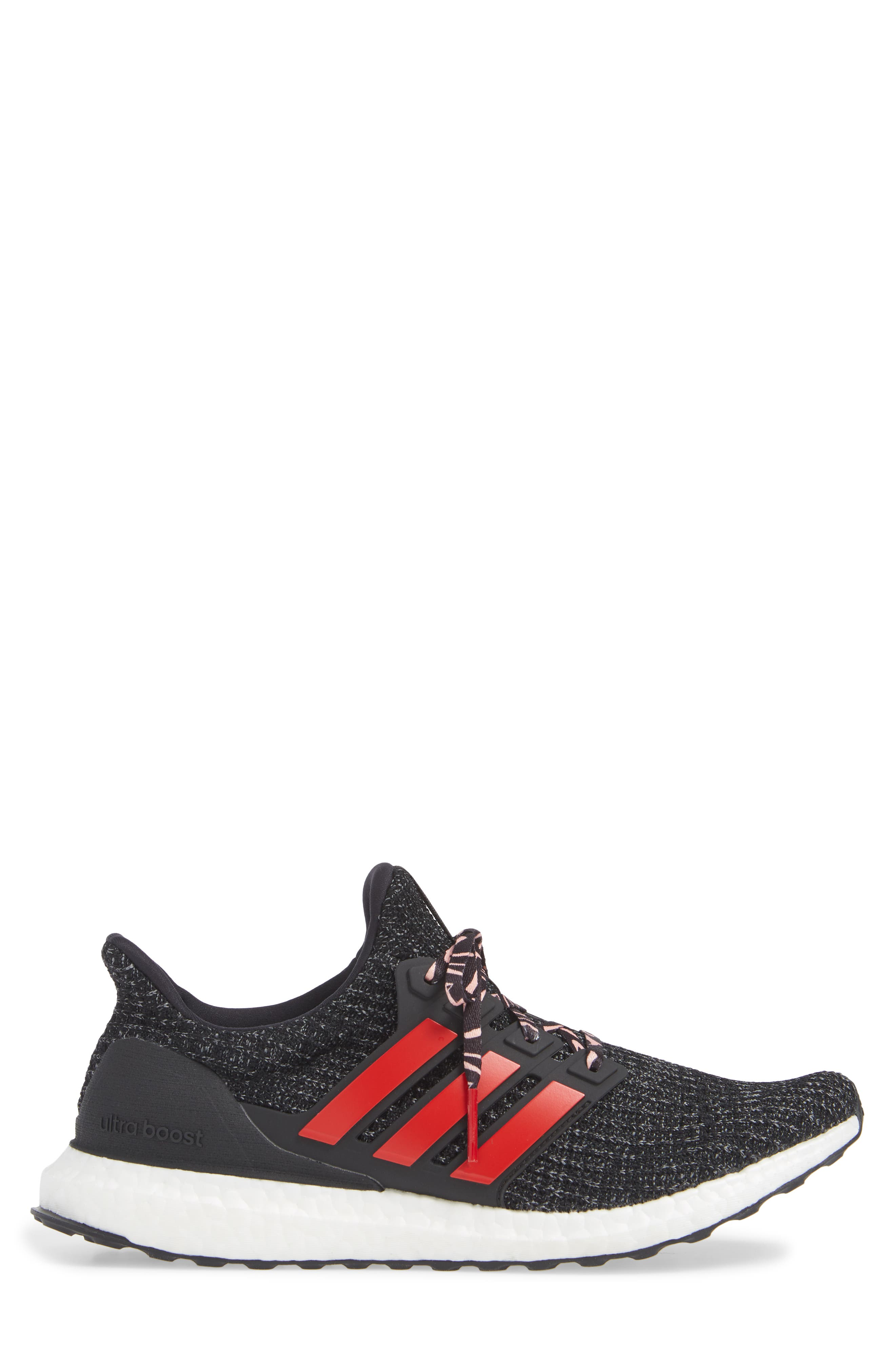 'UltraBoost' Running Shoe,                             Alternate thumbnail 3, color,                             CORE BLACK/ SCARLET/ GREY