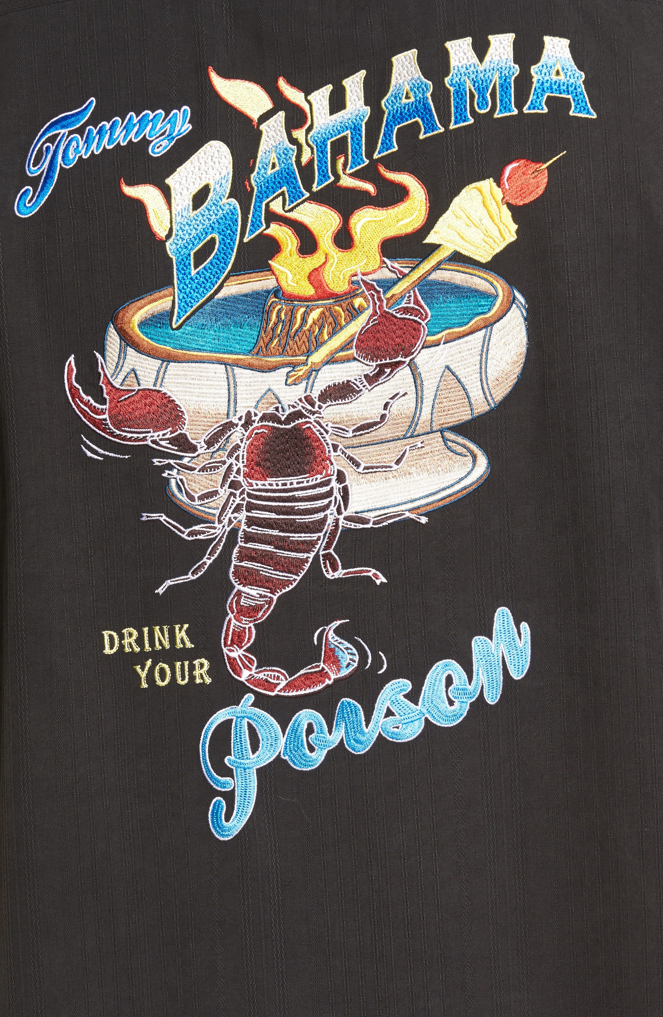 Drink Your Poison Embroidered Silk Woven Shirt,                             Alternate thumbnail 5, color,                             001