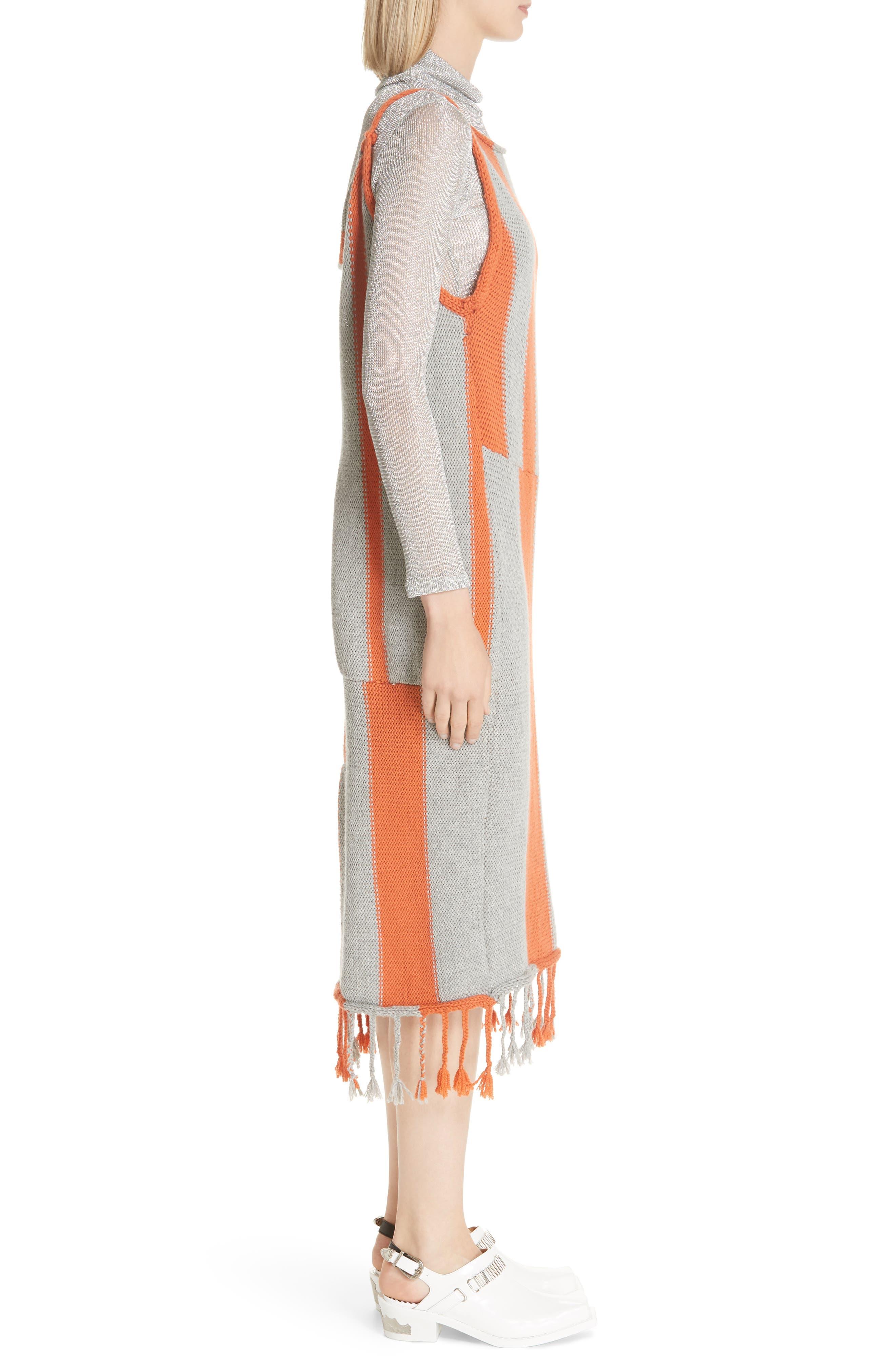 Stripe Tassel Hem Sweater Dress,                             Alternate thumbnail 3, color,                             GROG - GREY ORANGE