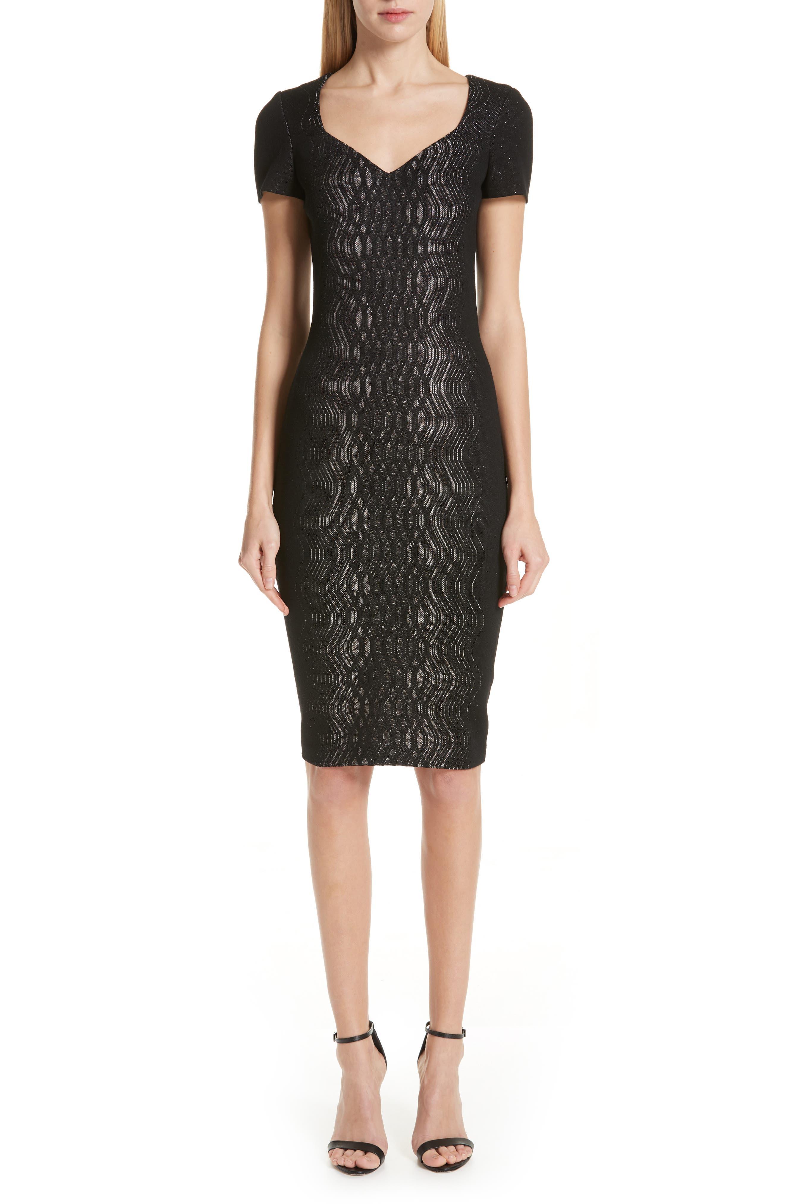 St. John Collection Illusion Jacquard Knit Dress, Black