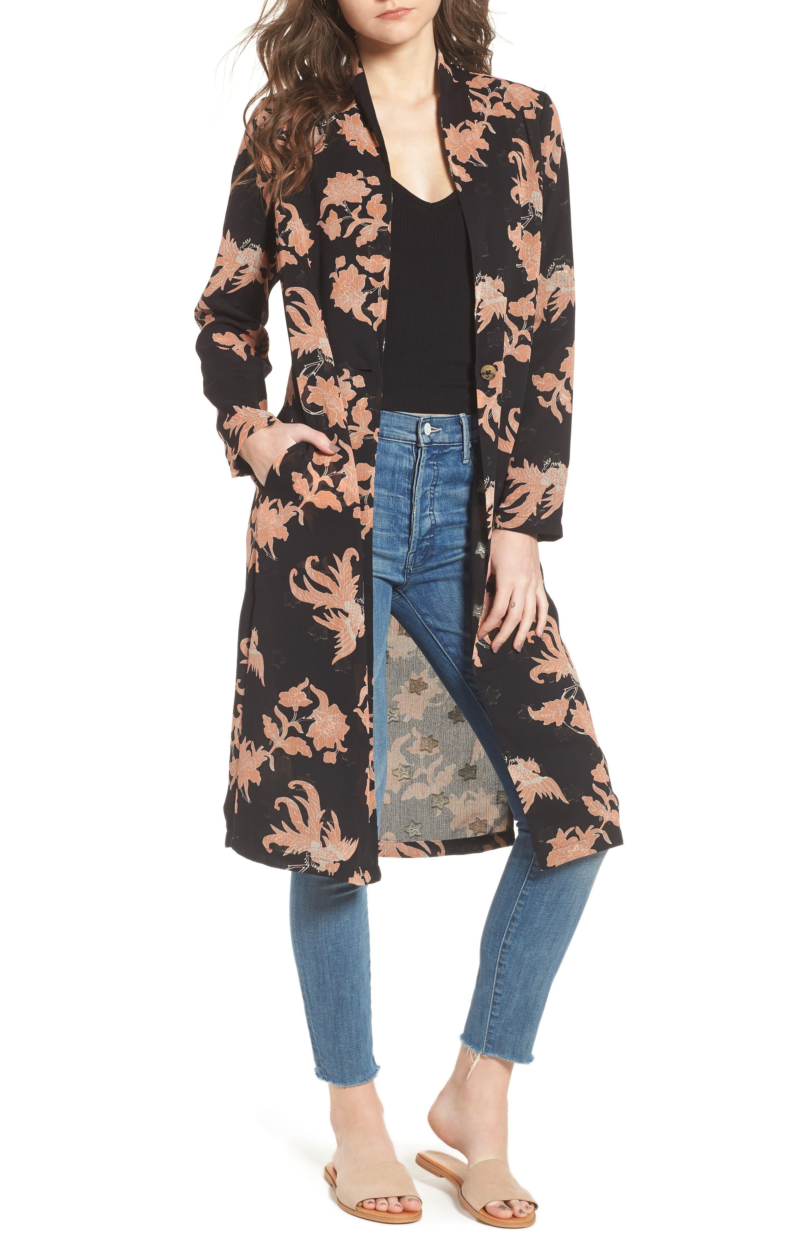 Floral Print Drape Duster Jacket,                         Main,                         color, 001