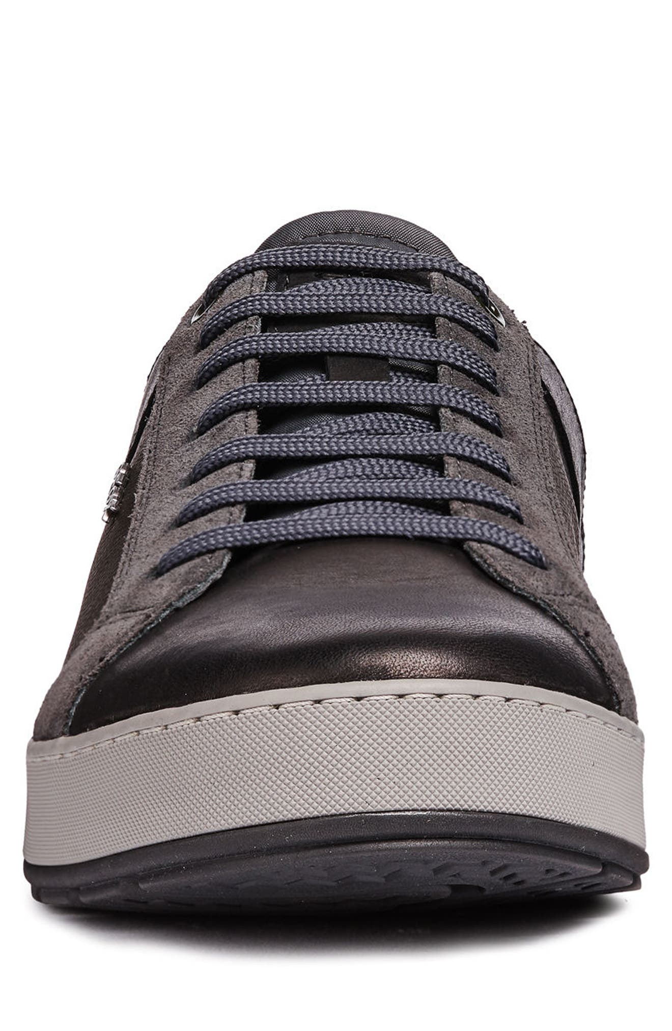 Ariam 1 Low Top Sneaker,                             Alternate thumbnail 4, color,                             BLACK/ ANTHRACITE LEATHER