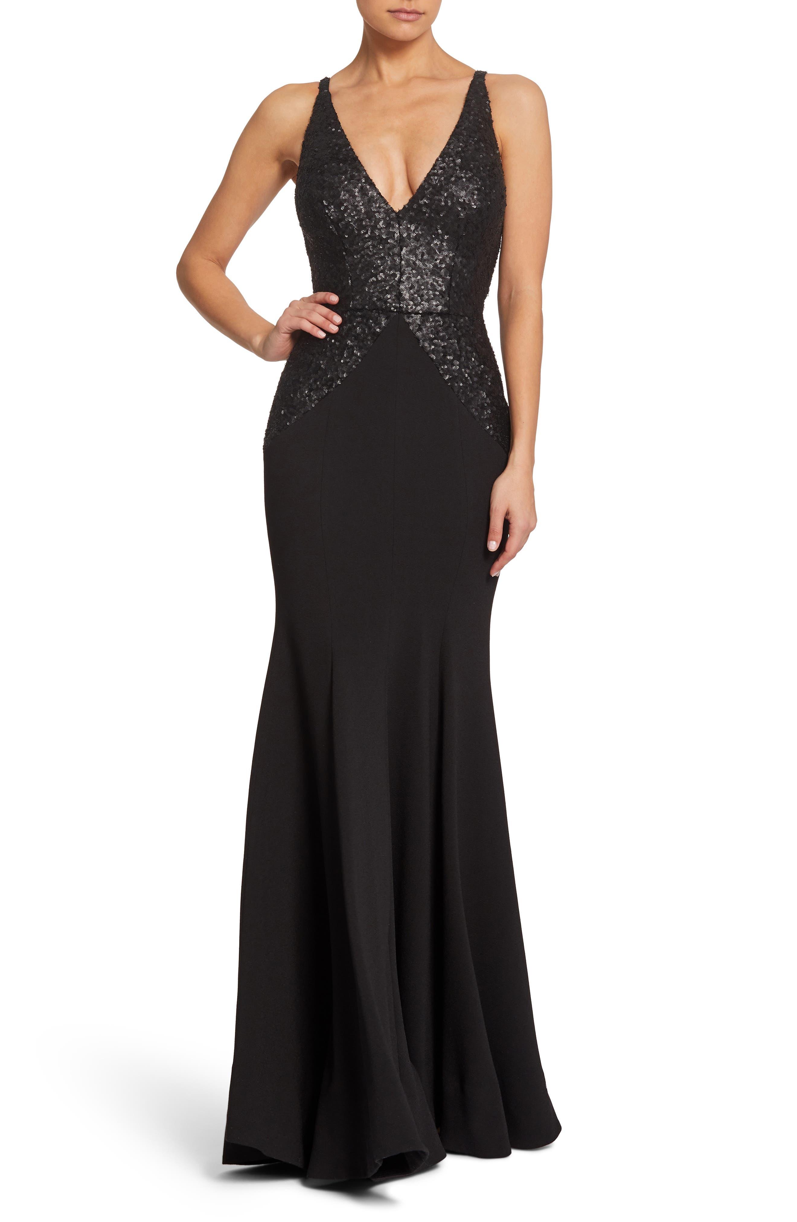 Dress The Population Marlene Sequin Trumpet Gown, Black