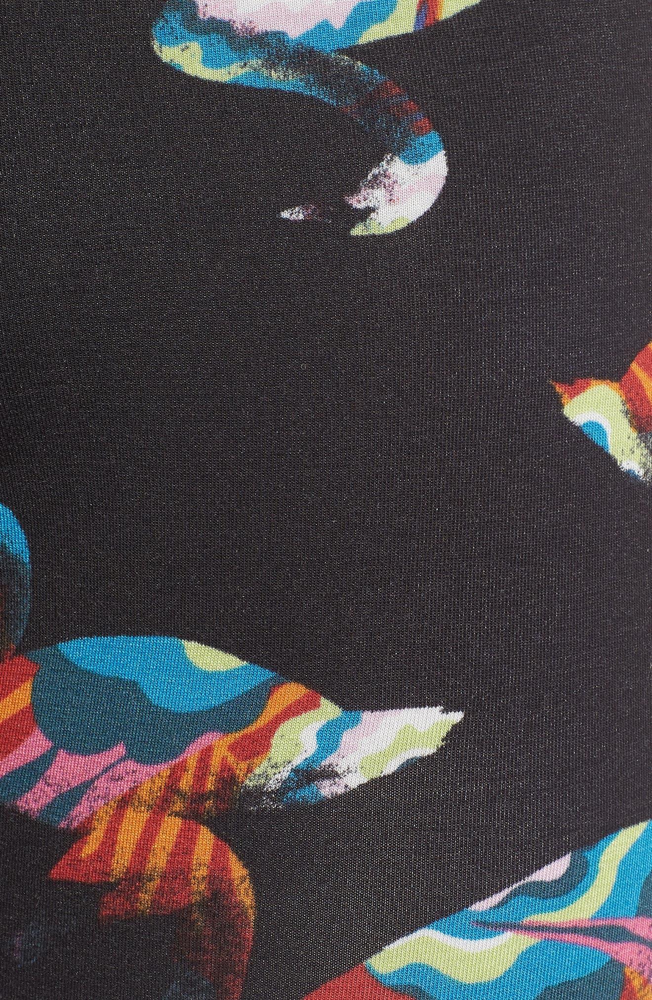 Swans Print Boxer Briefs,                             Alternate thumbnail 5, color,                             BLACK