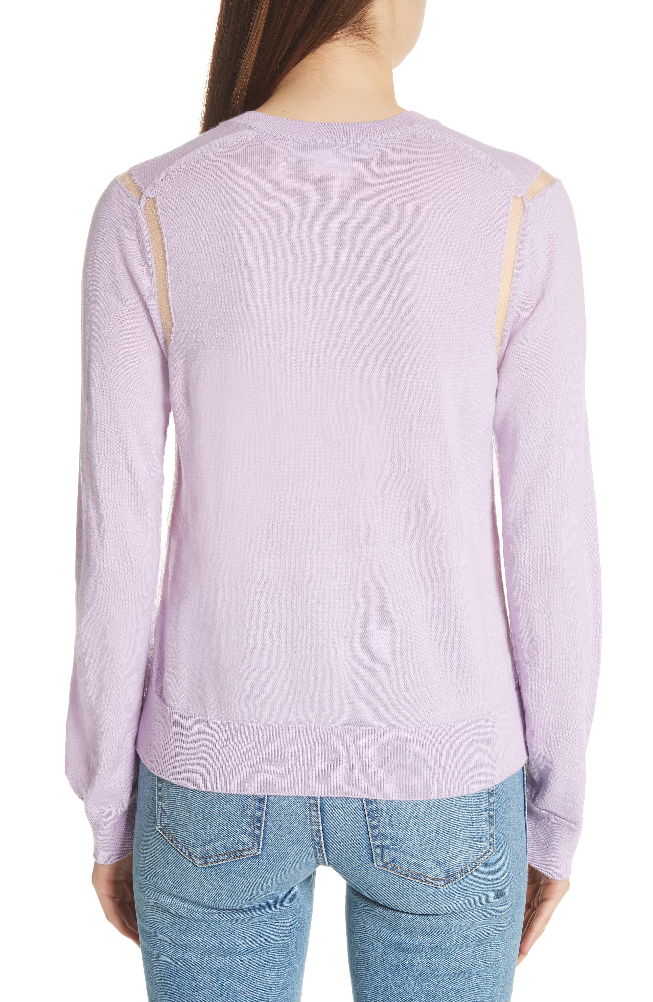 Sheer Panel Crewneck Sweater,                             Alternate thumbnail 2, color,                             500