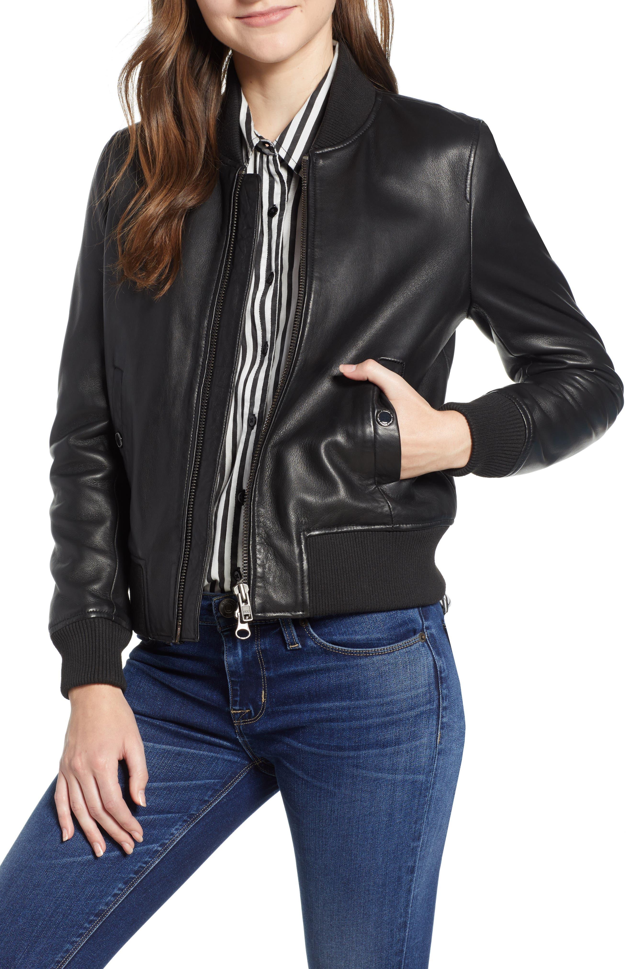 HUDSON Zip-Front Leather Bomber Jacket in Black
