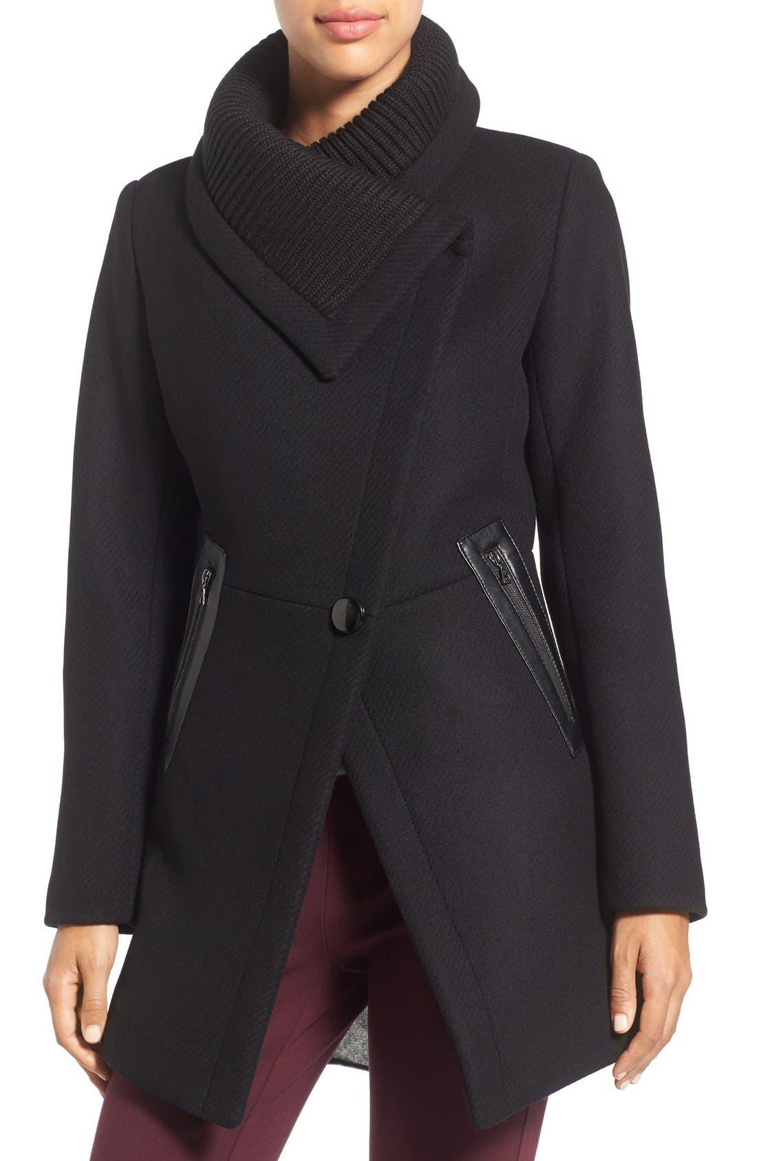 'Maddi' Knit Collar Cutaway Wool Blend Coat,                             Alternate thumbnail 4, color,                             001