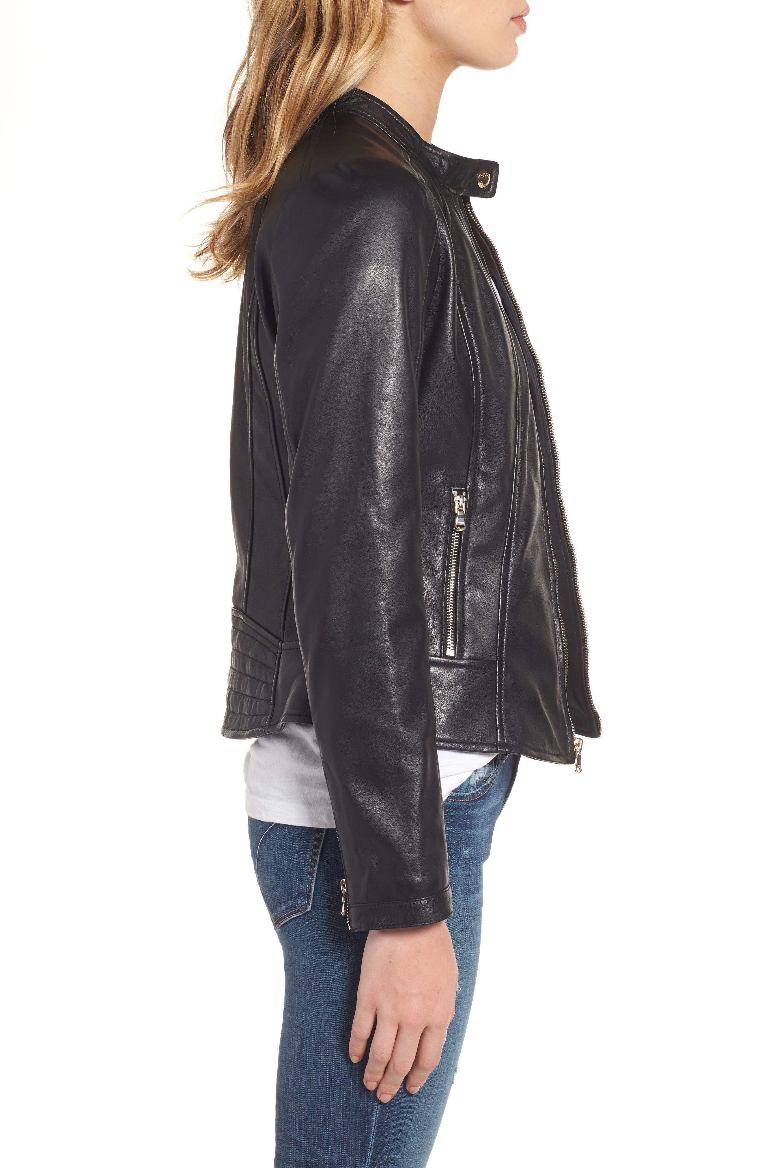 Collarless Leather Moto Jacket,                             Alternate thumbnail 3, color,                             001