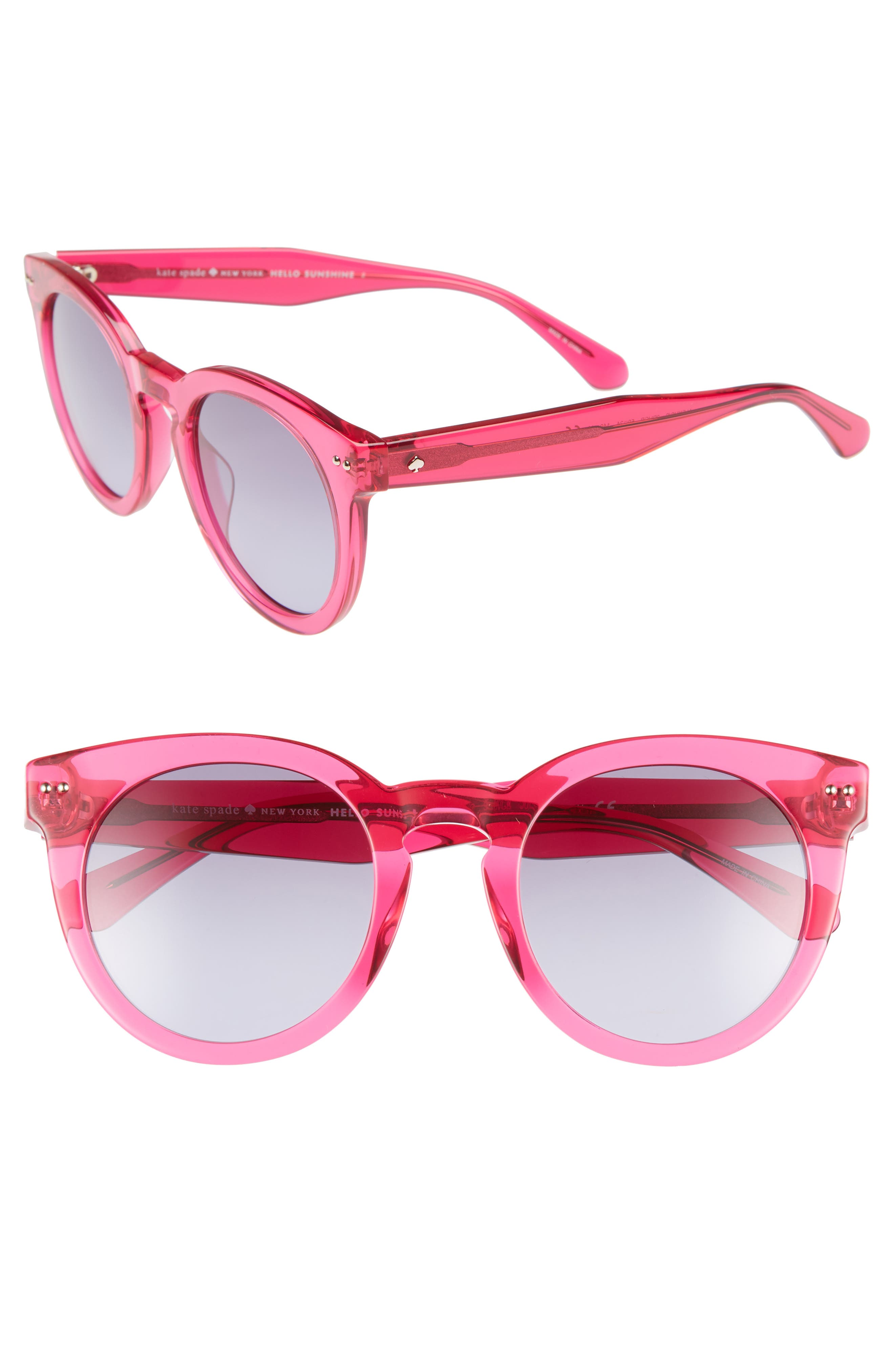 alexuss 50mm round sunglasses,                             Main thumbnail 1, color,                             CRYSTAL PINK