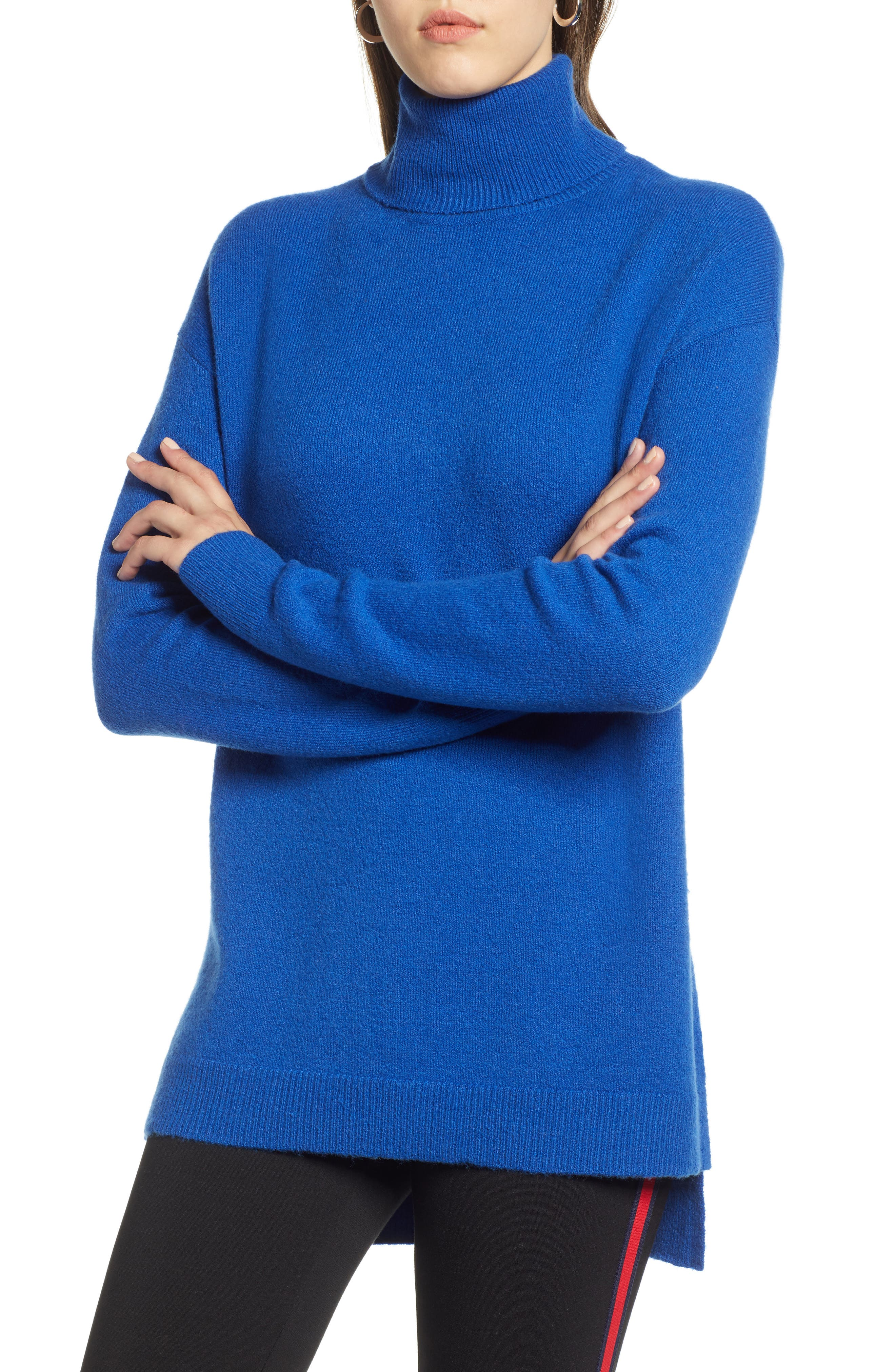 Turtleneck Wool Blend Tunic Sweater,                         Main,                         color, BLUE MAZARINE