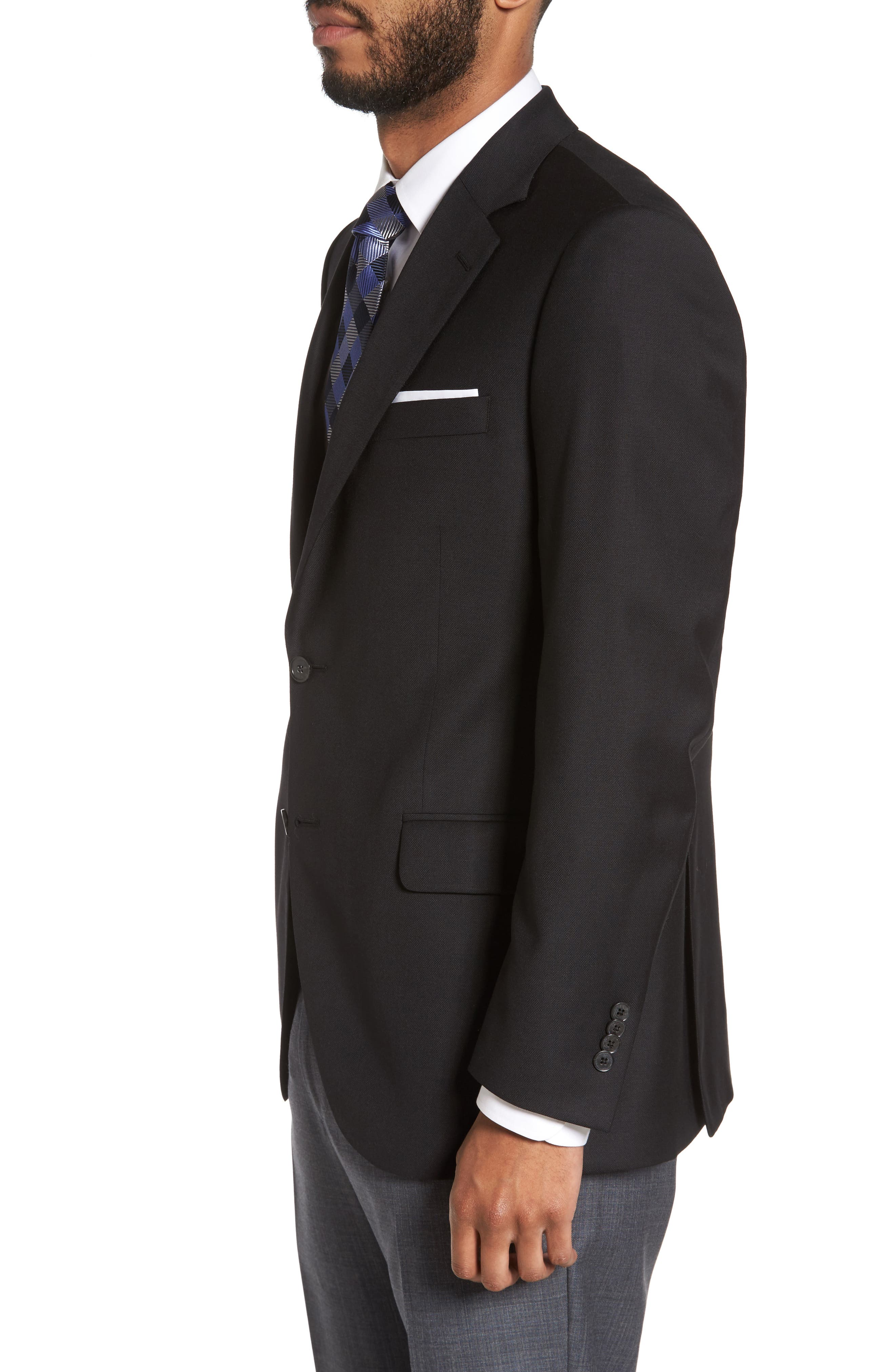 Flynn Classic Fit Wool Blazer,                             Alternate thumbnail 3, color,                             BLACK