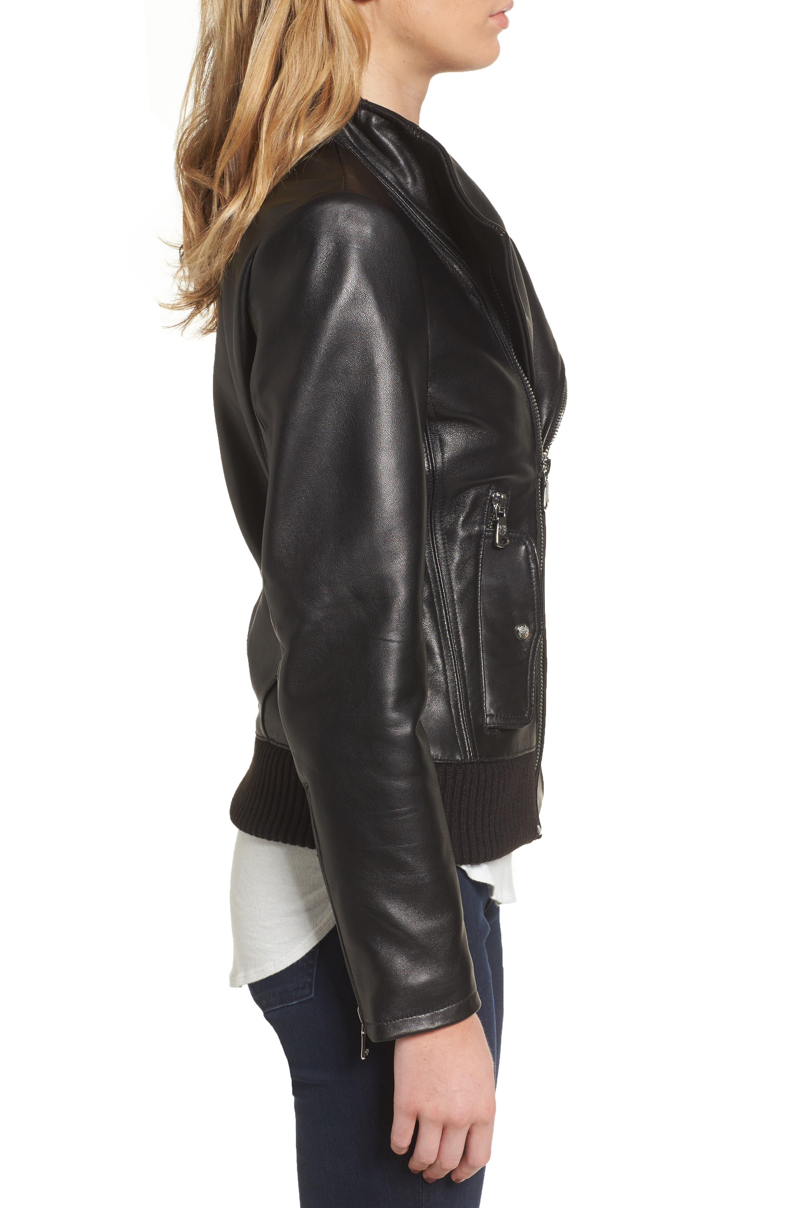 Leather Bomber Jacket,                             Alternate thumbnail 3, color,