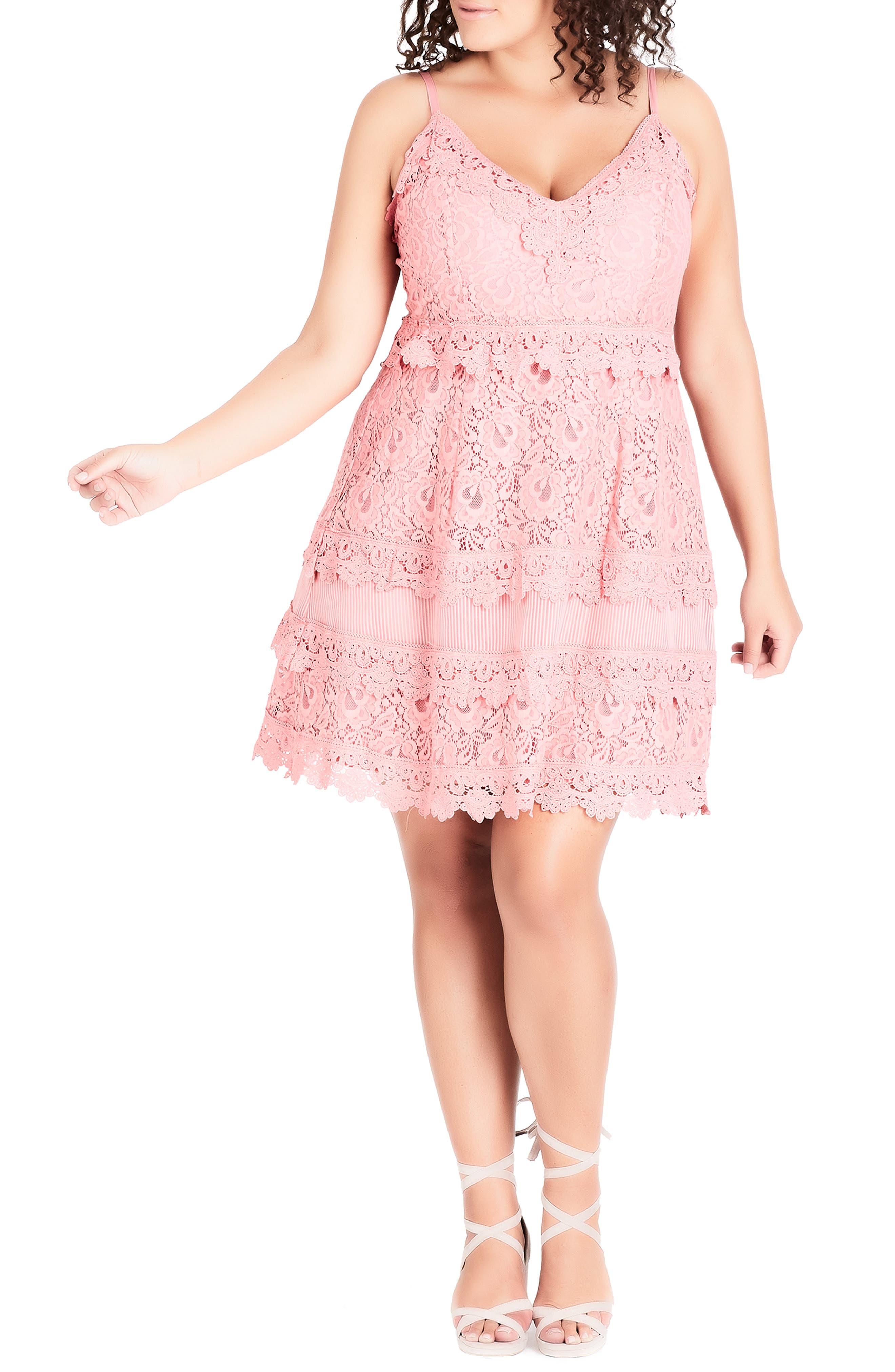 Nouveau Cotton Blend Lace Fit & Flare Dress,                             Main thumbnail 1, color,                             POUT