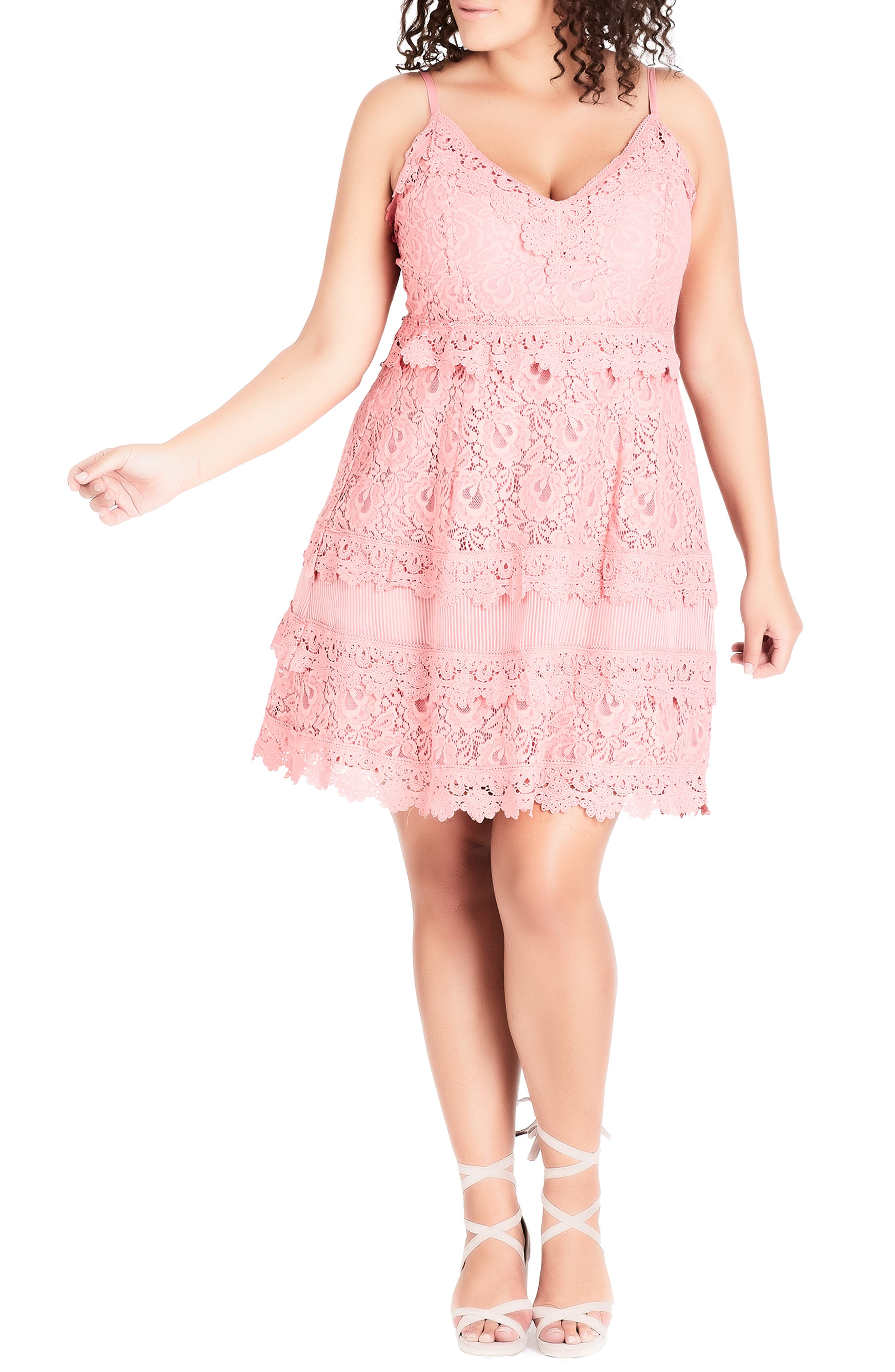 Nouveau Cotton Blend Lace Fit & Flare Dress, Main, color, POUT