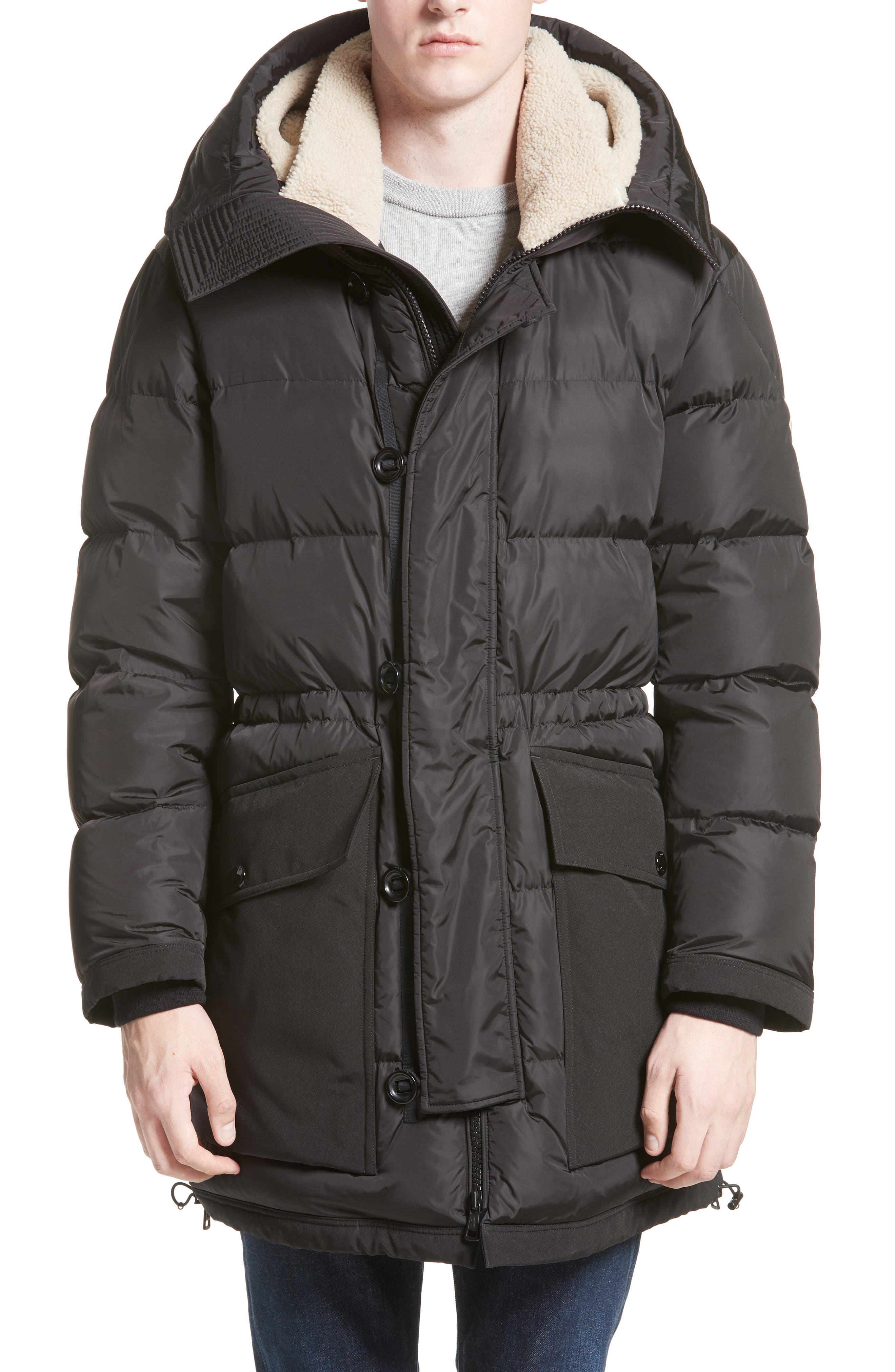 Loic High Neck Down Coat with Genuine Shearling Trim,                             Alternate thumbnail 4, color,                             001