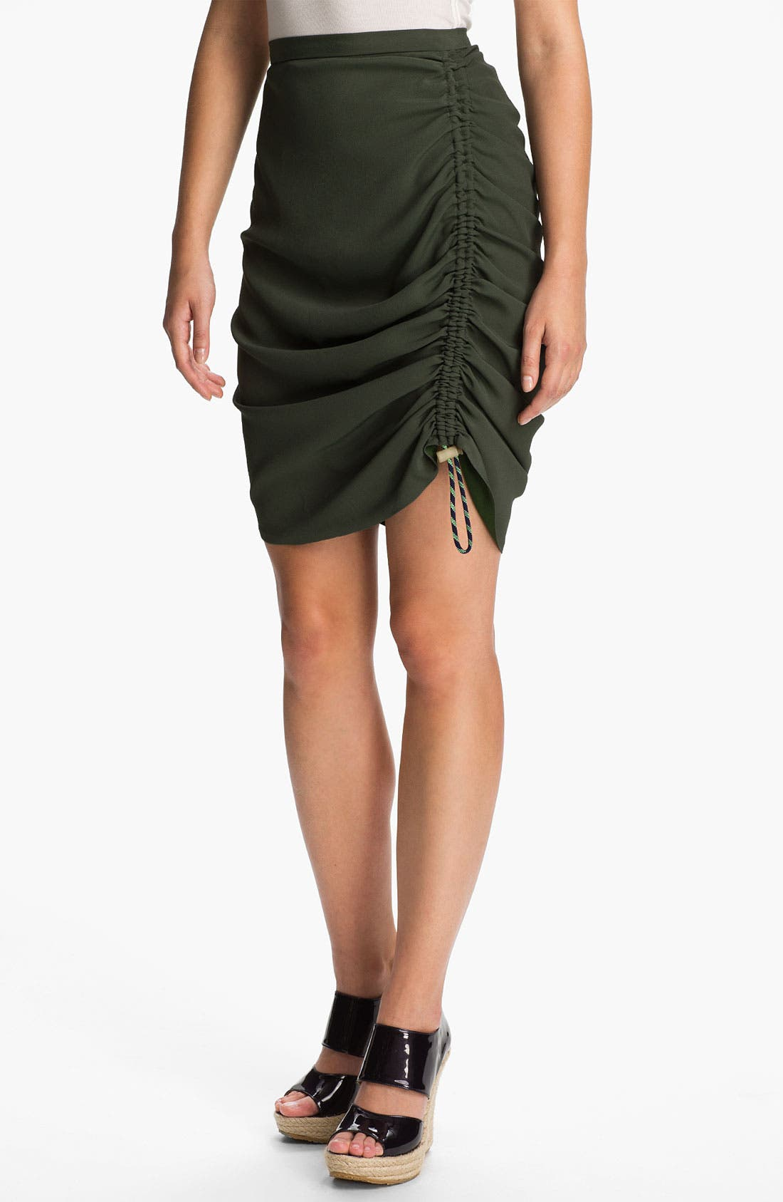 Side Ruched Crepe Skirt, Main, color, 250