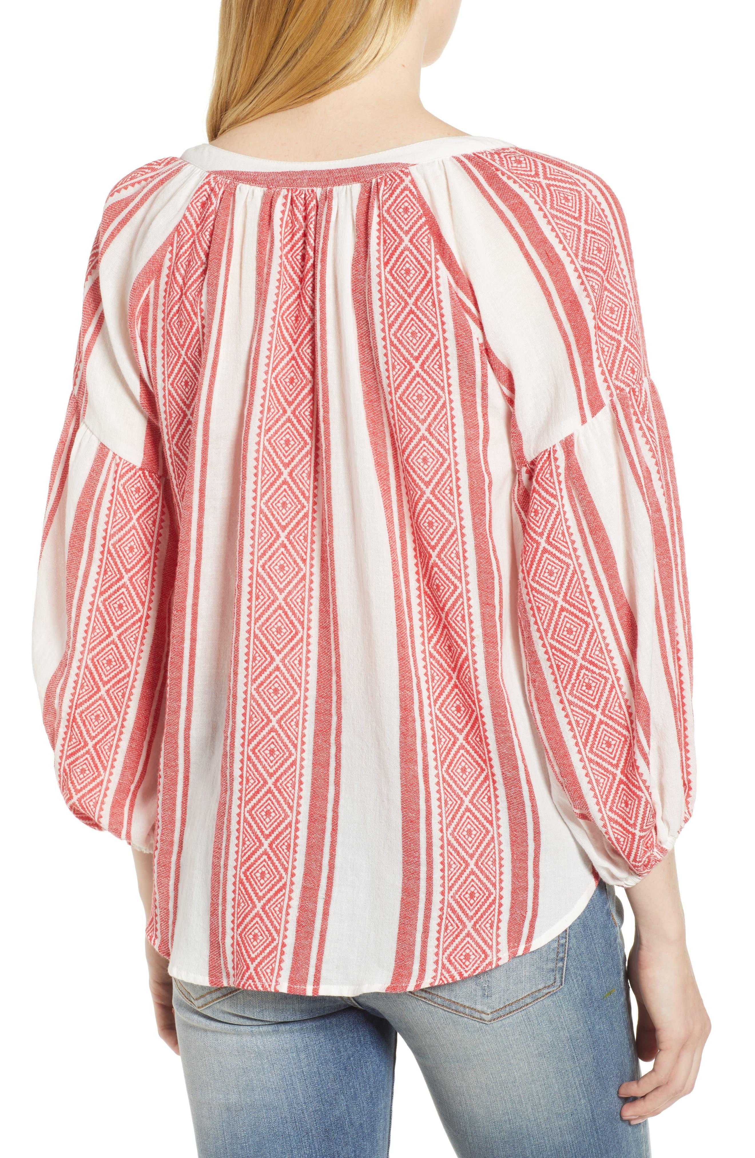 Jacquard Stripe Peasant Blouse,                             Alternate thumbnail 3, color,