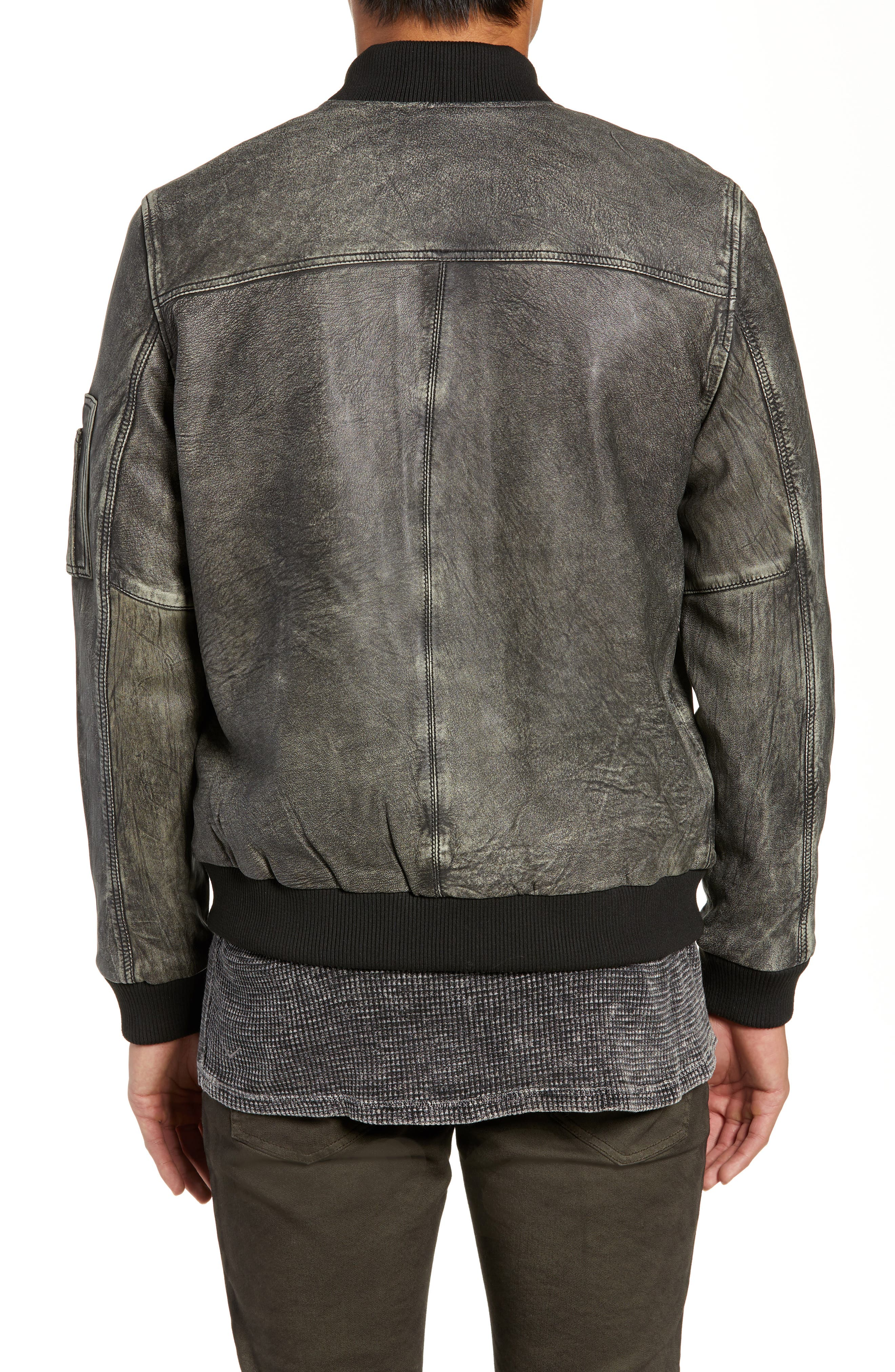 Hudson Leather Bomber Jacket,                             Alternate thumbnail 2, color,                             063