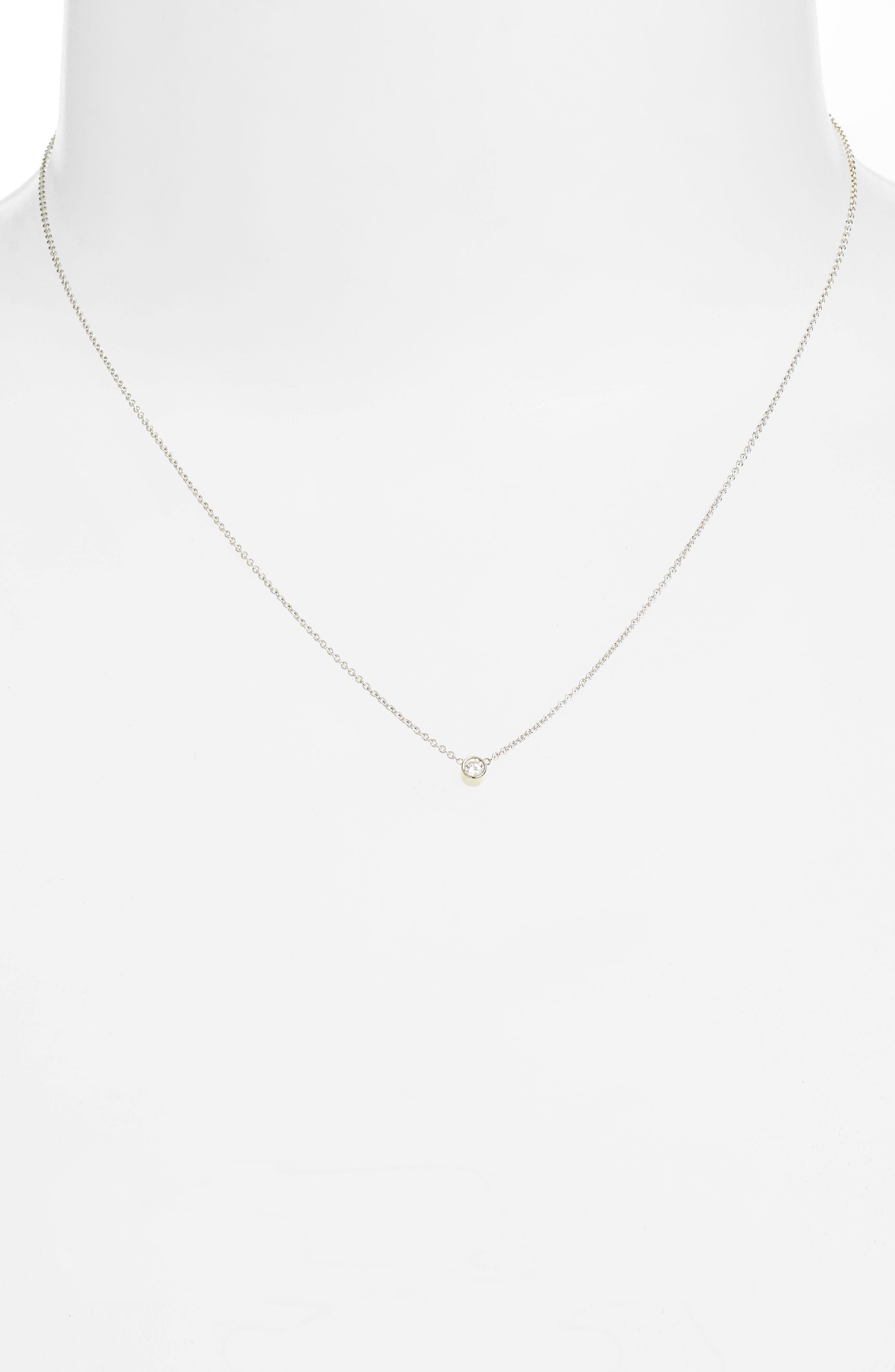 Diamond Bezel Pendant Necklace,                             Alternate thumbnail 3, color,                             WHITE GOLD
