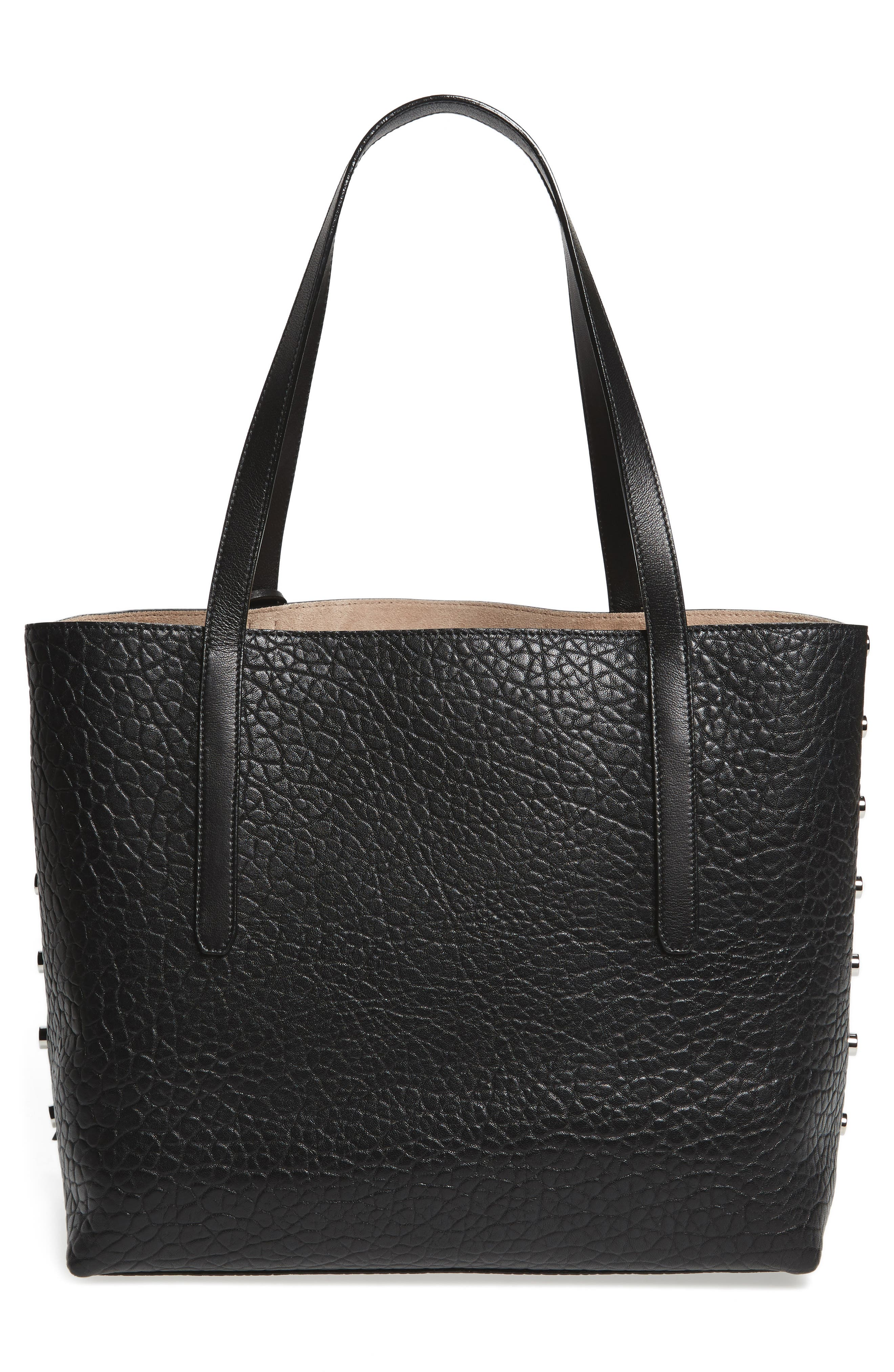 Twist East West Leather Tote,                             Alternate thumbnail 3, color,                             001