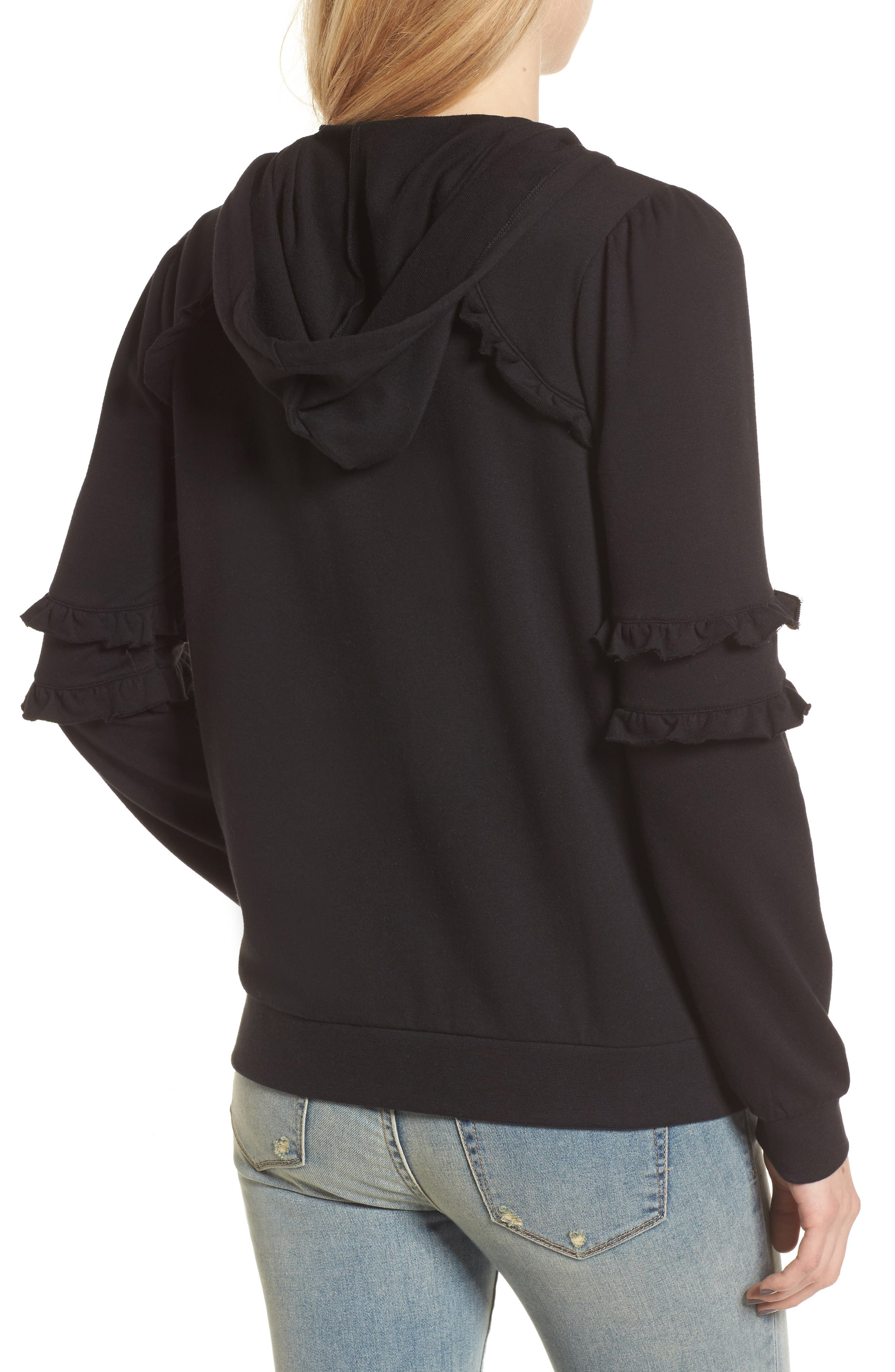 Ruffle Zip Hoodie,                             Alternate thumbnail 2, color,