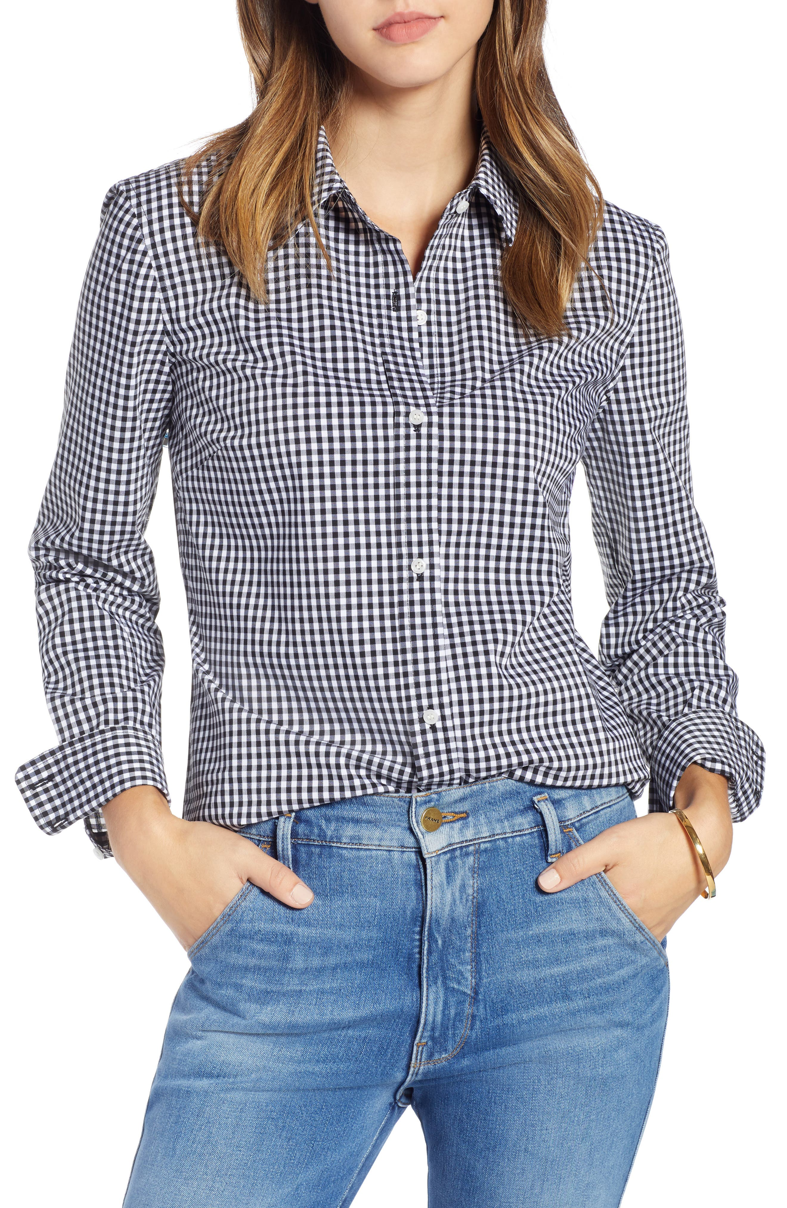 Stretch Cotton Blend Shirt,                         Main,                         color, BLACK GINGHAM