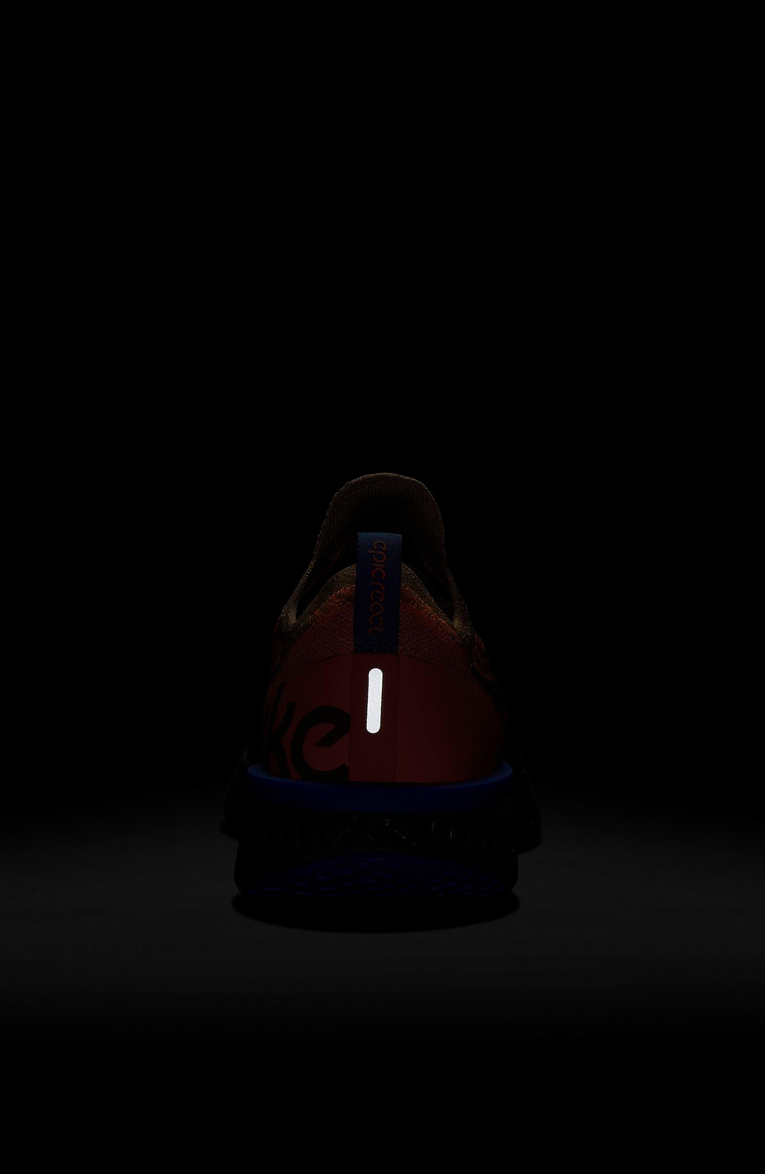 Epic React Flyknit Running Shoe,                             Alternate thumbnail 6, color,                             GOLDEN BEIGE/ BLUE/ ORANGE