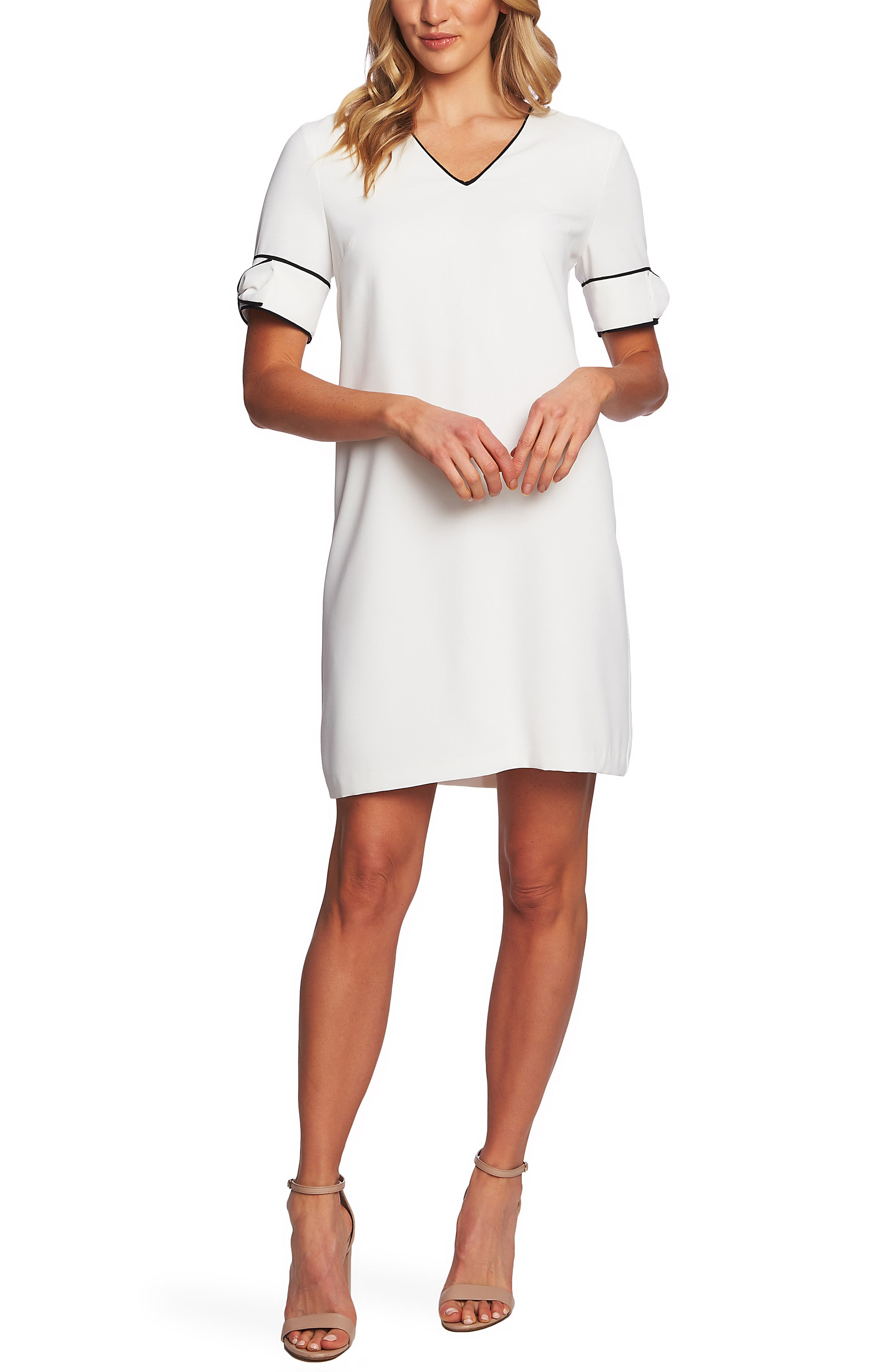 Cece Bow Trim Shift Dress, Ivory