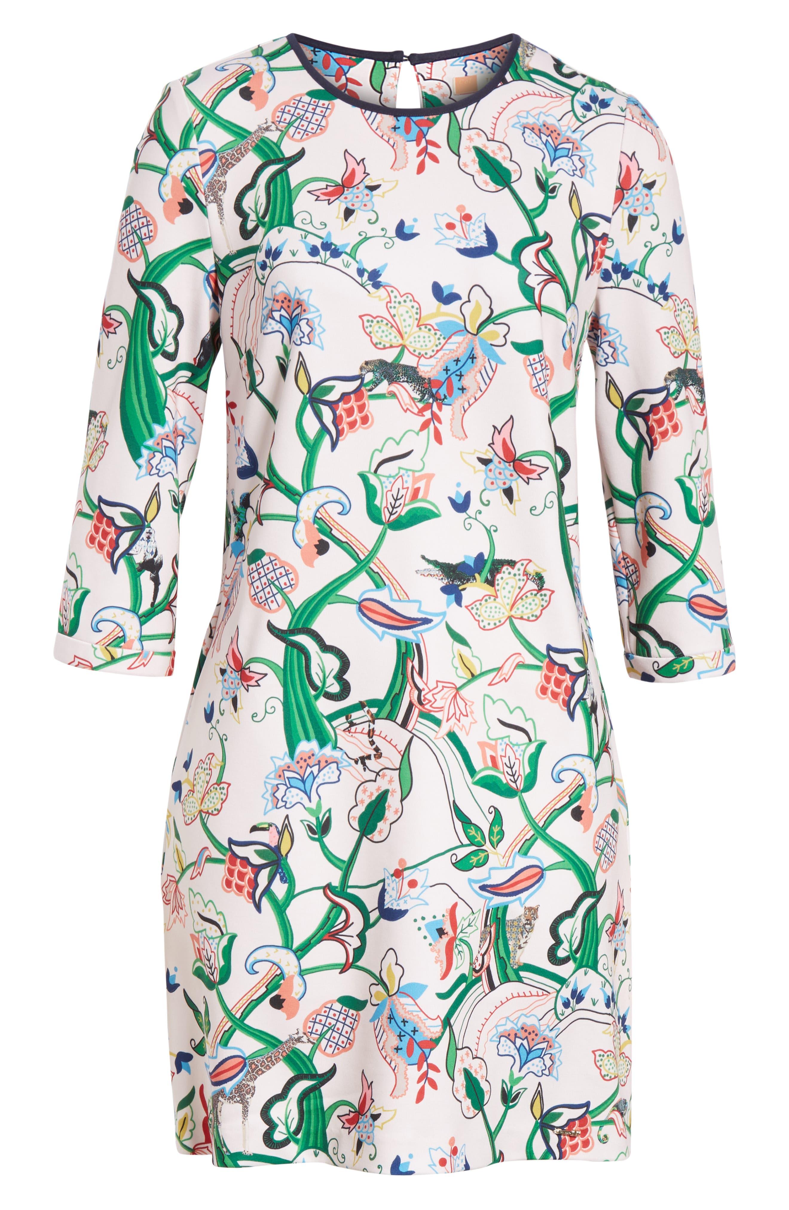 Volca Jungle Print Shift Dress,                             Alternate thumbnail 6, color,                             652