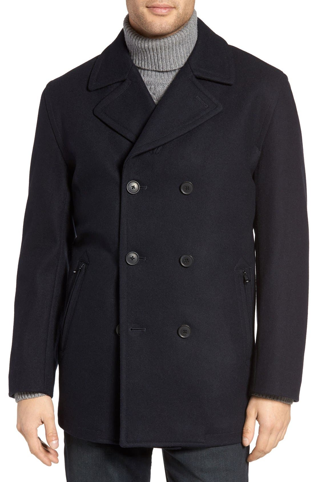 Wool Blend Double Breasted Peacoat,                             Alternate thumbnail 117, color,