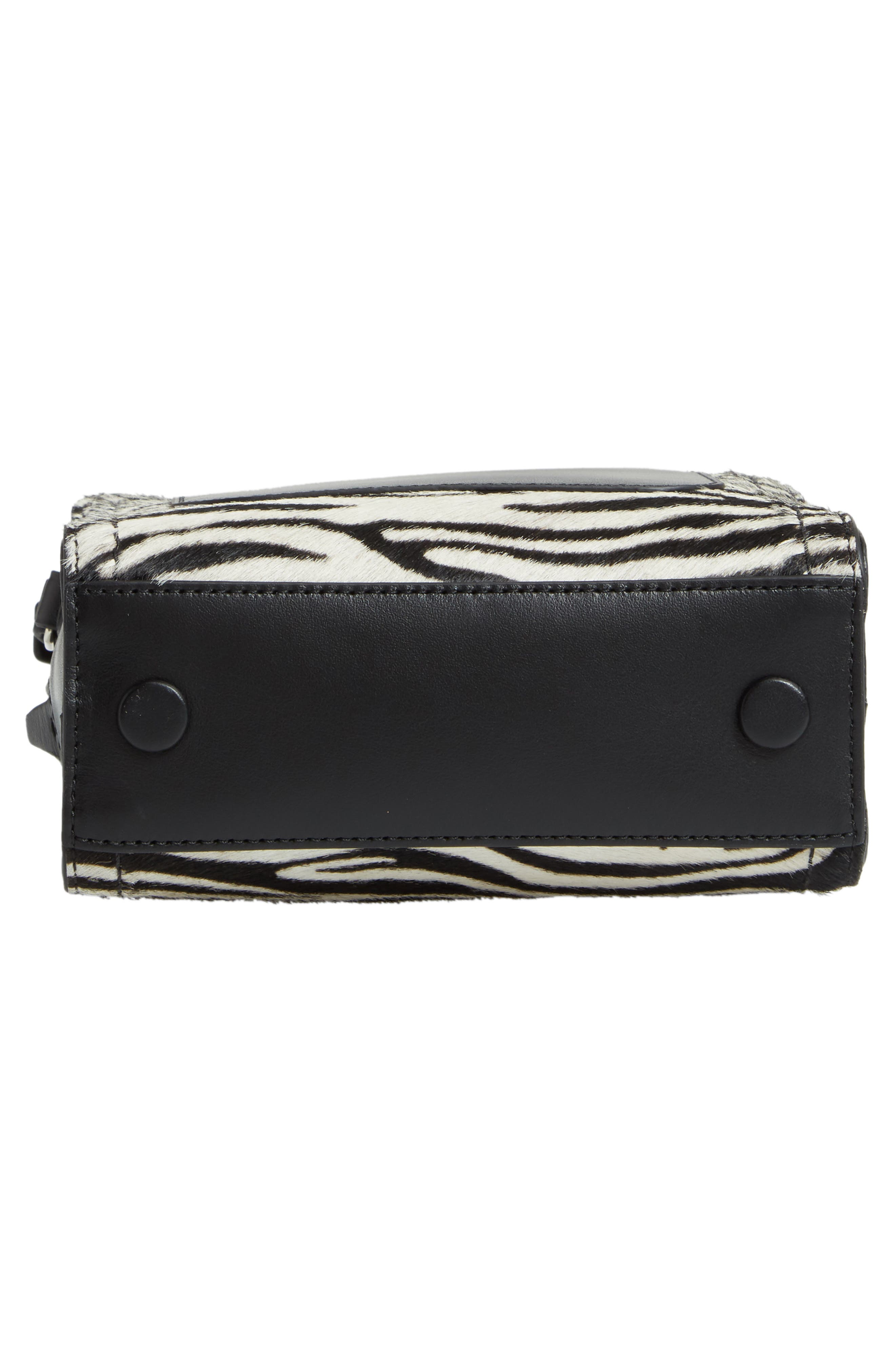 Mini Hudson Genuine Calf Hair & Leather Crossbody Bag,                             Alternate thumbnail 6, color,                             100
