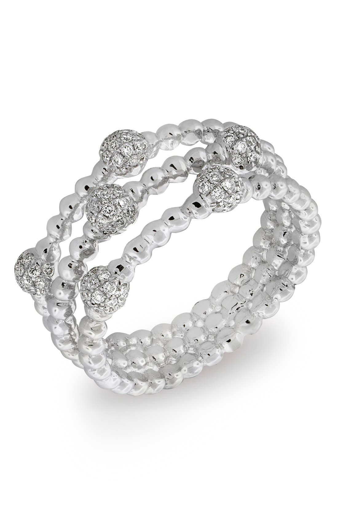 BONY LEVY Pavé Ball Bead Three-Row Diamond Ring, Main, color, WHITE GOLD
