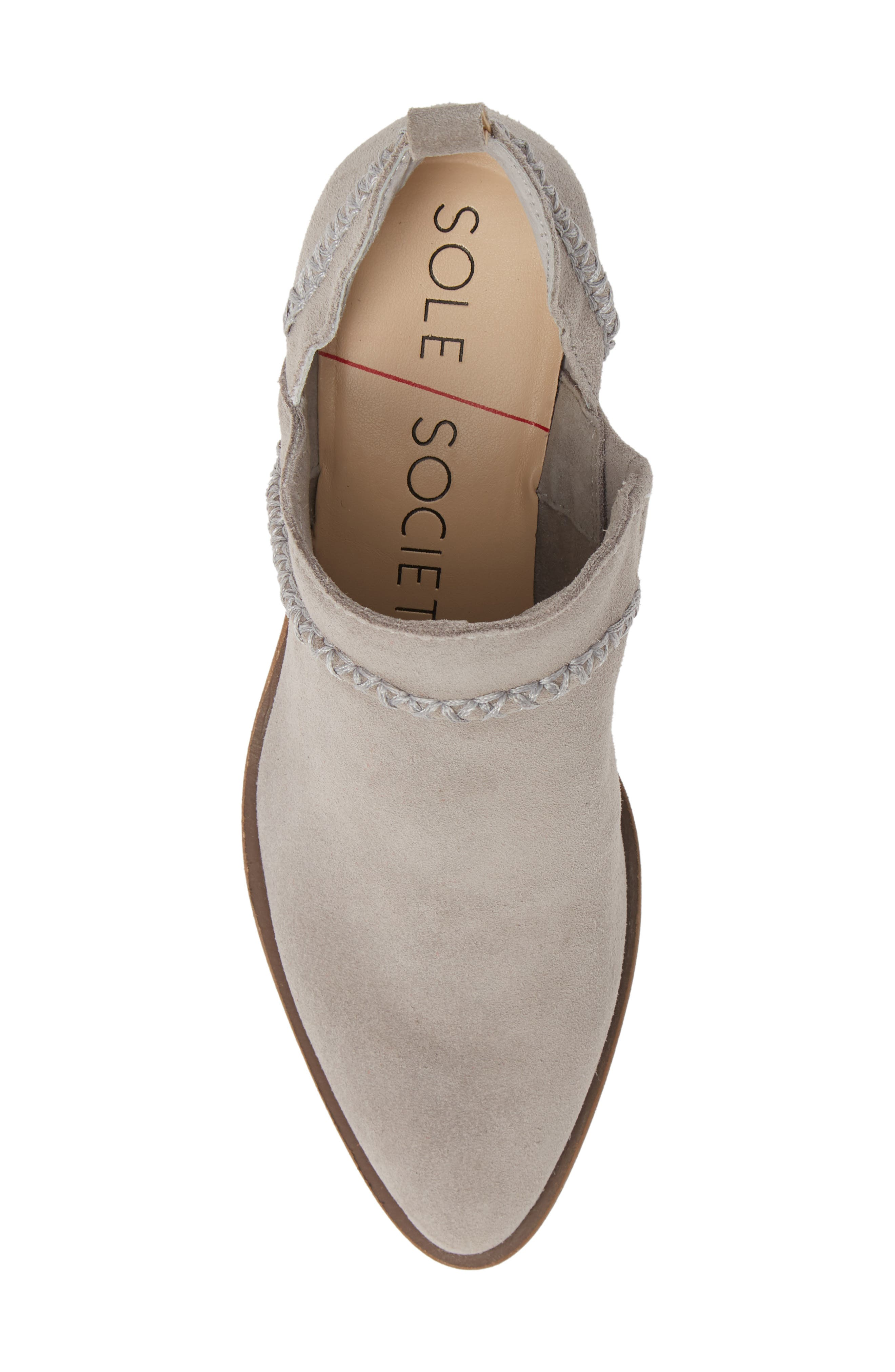 SOLE SOCIETY,                             Nikkie Bootie,                             Alternate thumbnail 5, color,                             SOFT GREY SUEDE