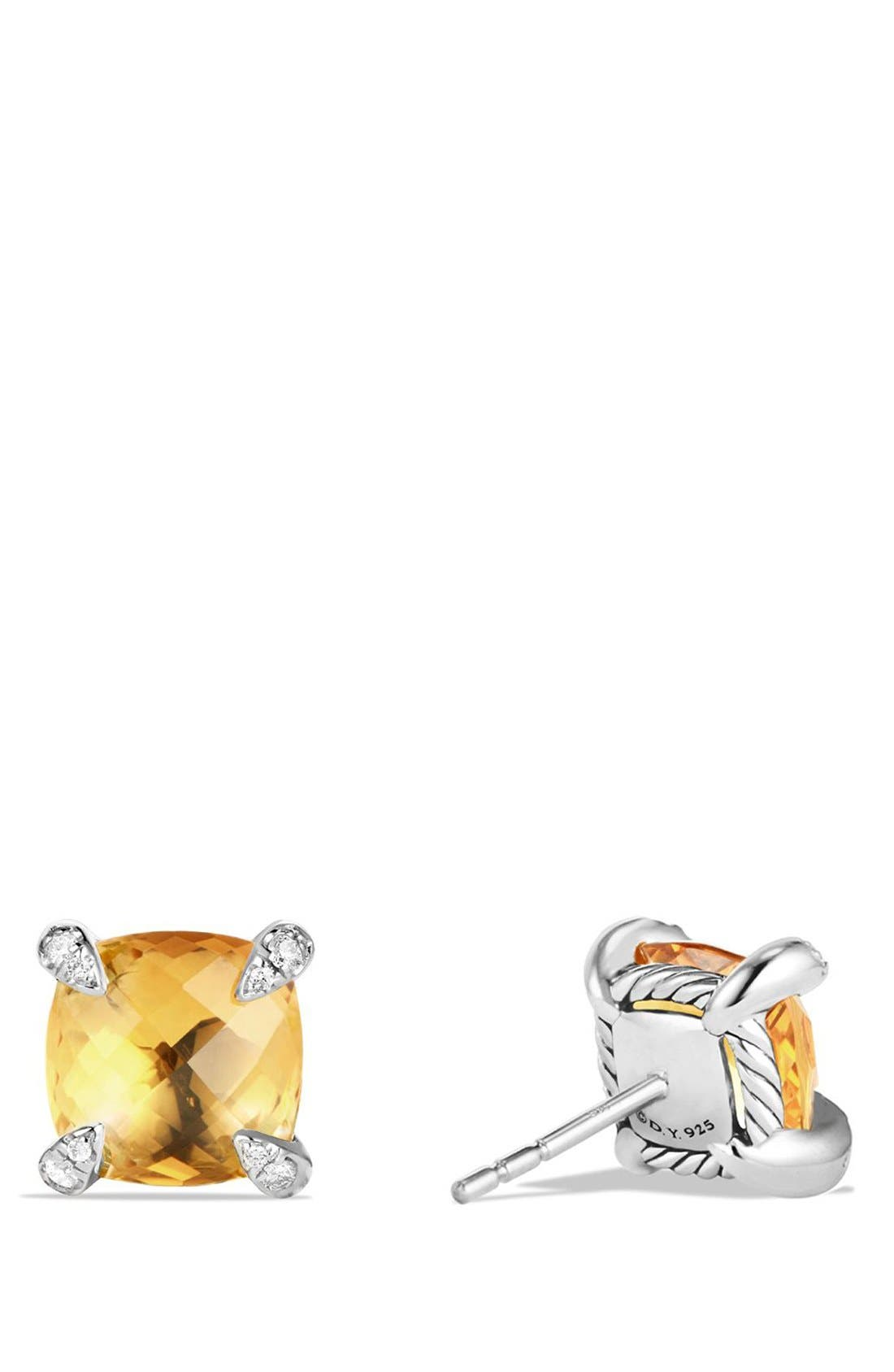 'Châtelaine' Earrings with Semiprecious Stones and Diamonds,                             Alternate thumbnail 3, color,                             SILVER/ CITRINE